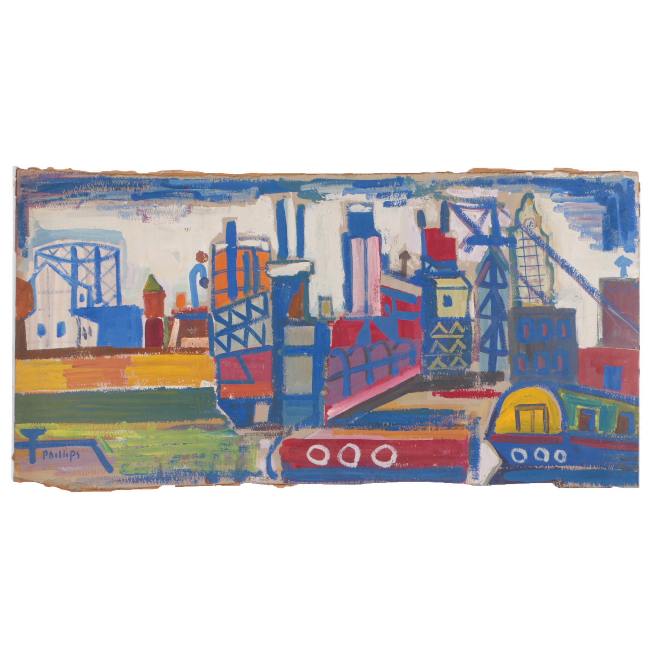 "Esther Phillips 1957 Gouache Painting on Paperboard ""Gowanus Canal"""