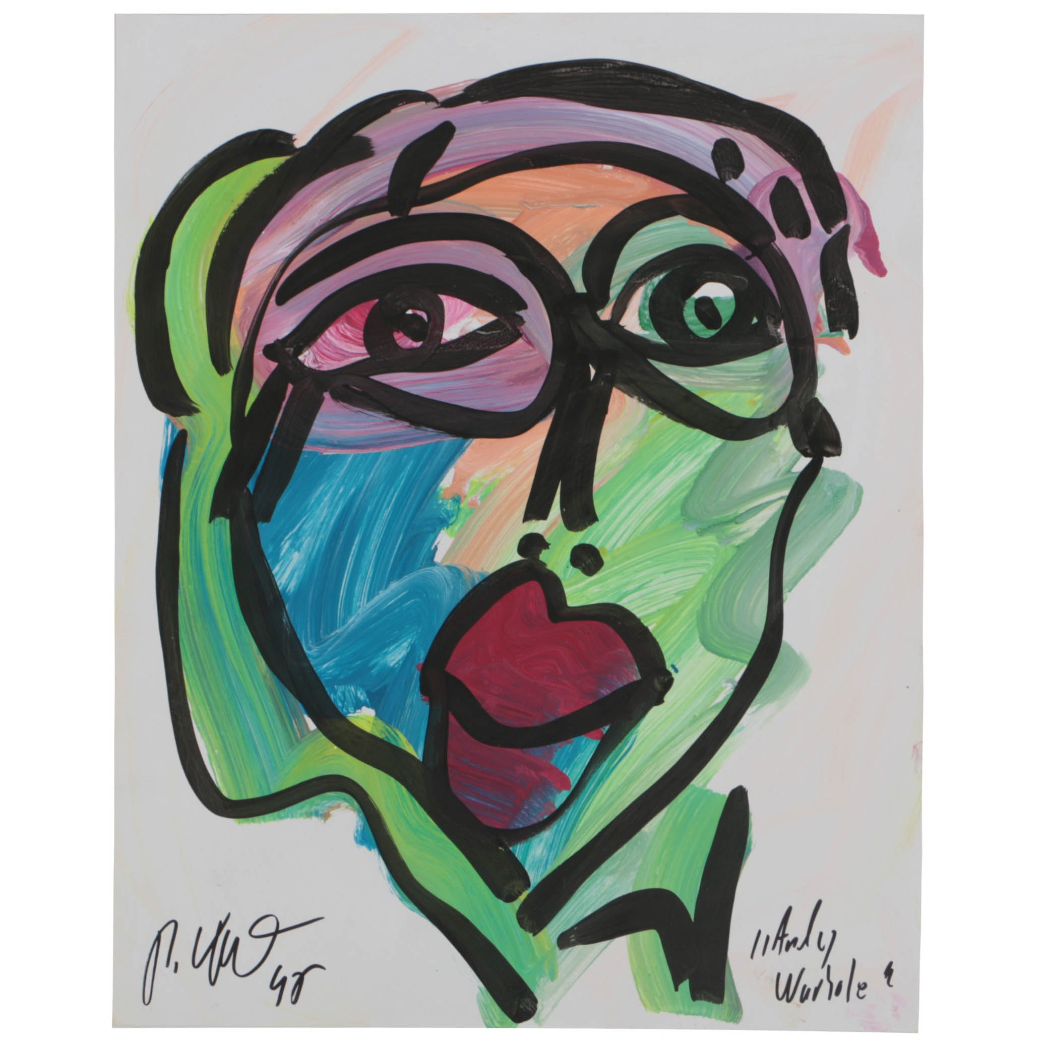"""Peter Keil 1992 Acrylic Painting on Paper """"Andy Warhole"""""""