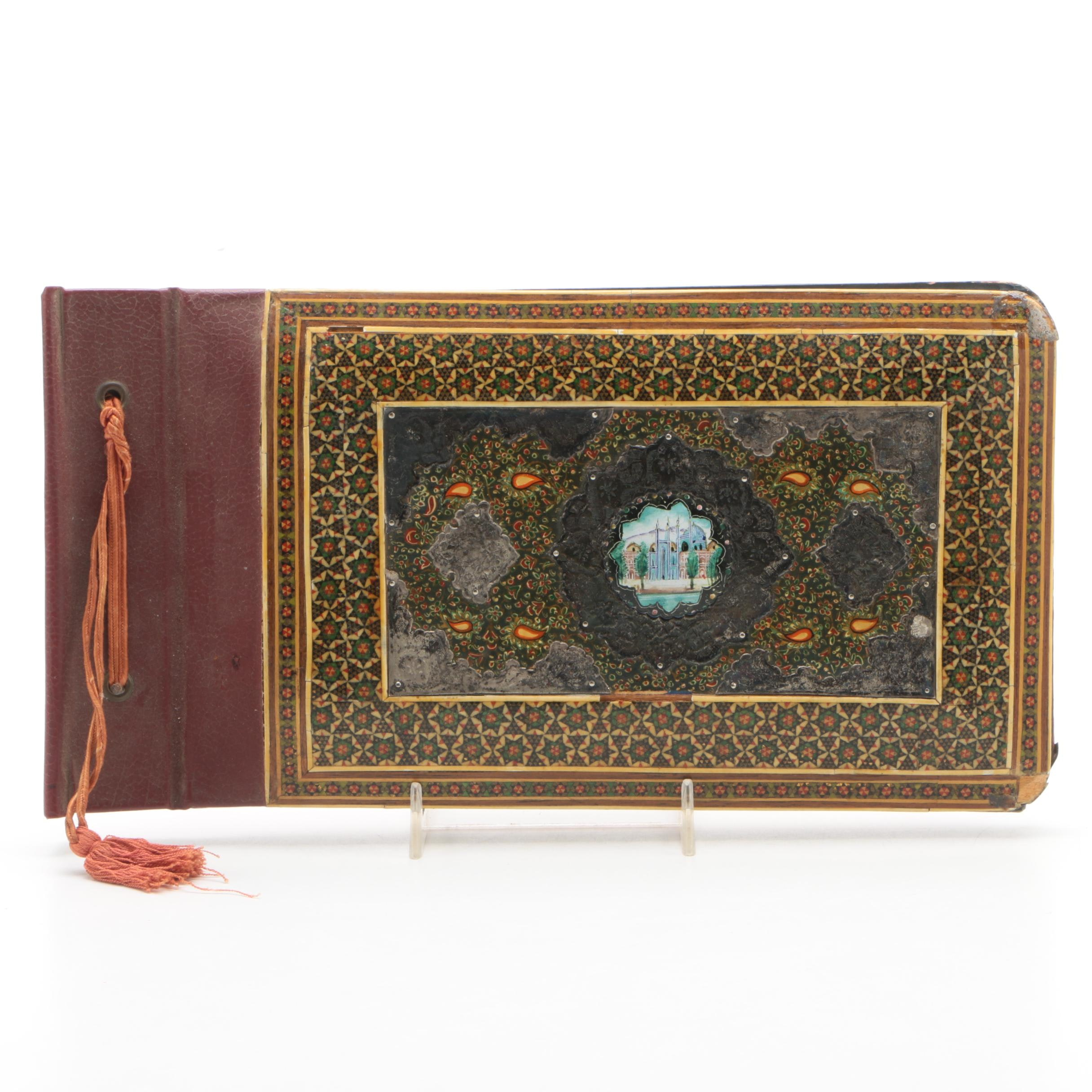 Vintage Persian Qajar Lacquer and Wood Photo Album