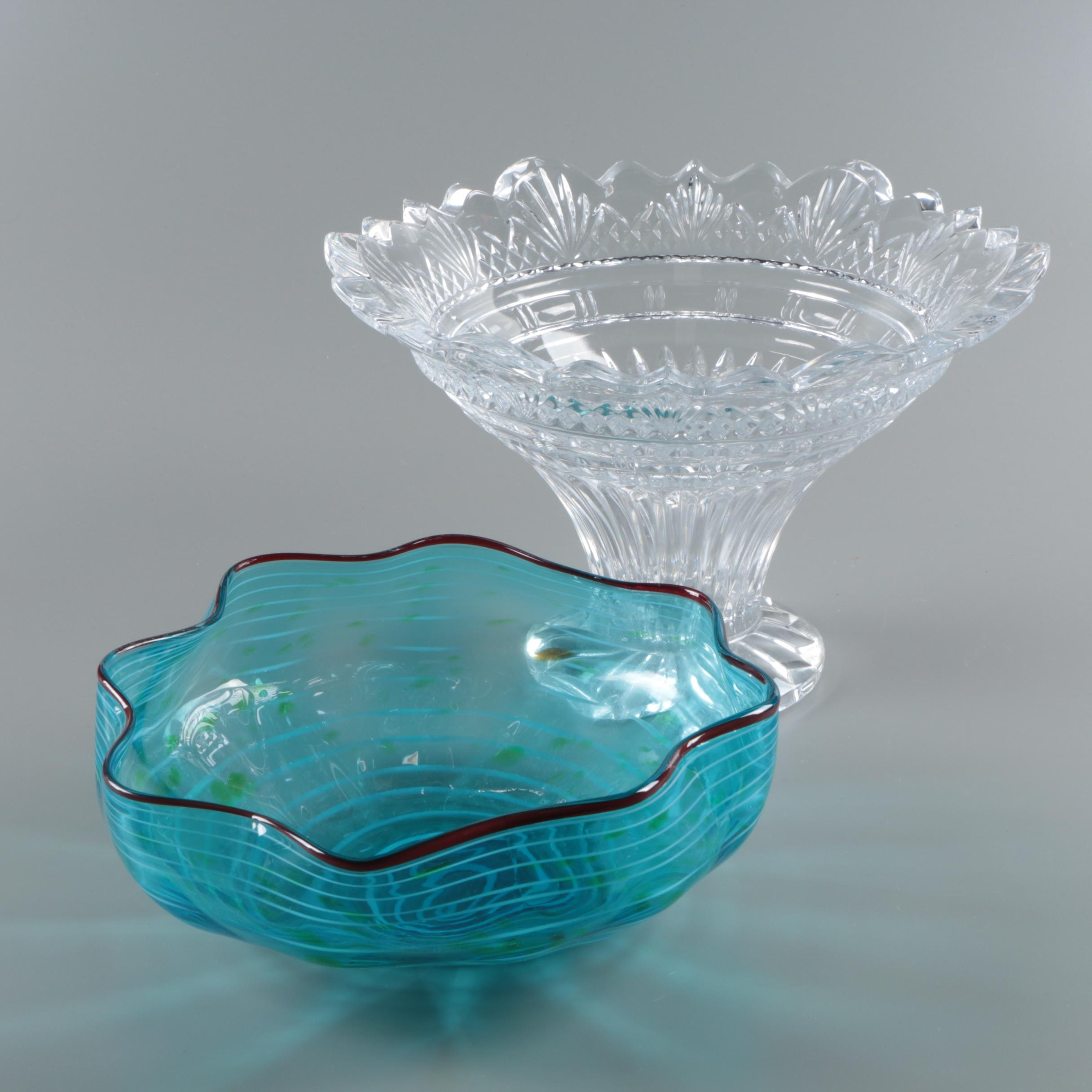 Spiral Motif Blown Glass Bowl with Flared Centerpiece