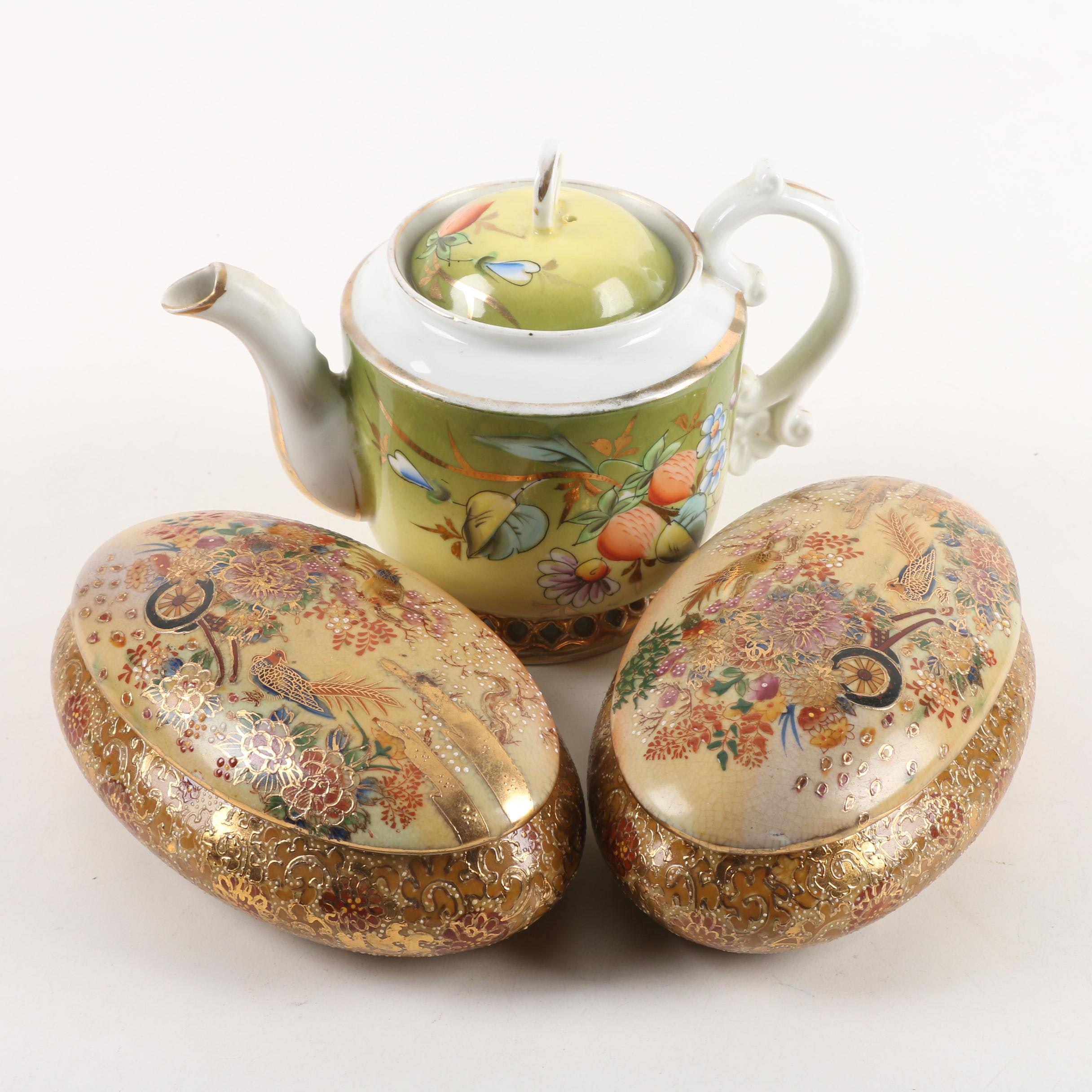 Porcelain Teapot and Chinese Satsuma Style Trinket Boxes