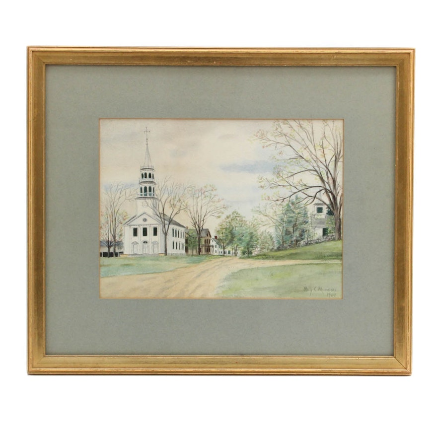 1900 May C. Munson New England Townscape Watercolor