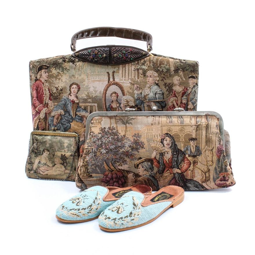 Trio Of Vintage Tapestry Handbags And Slipper