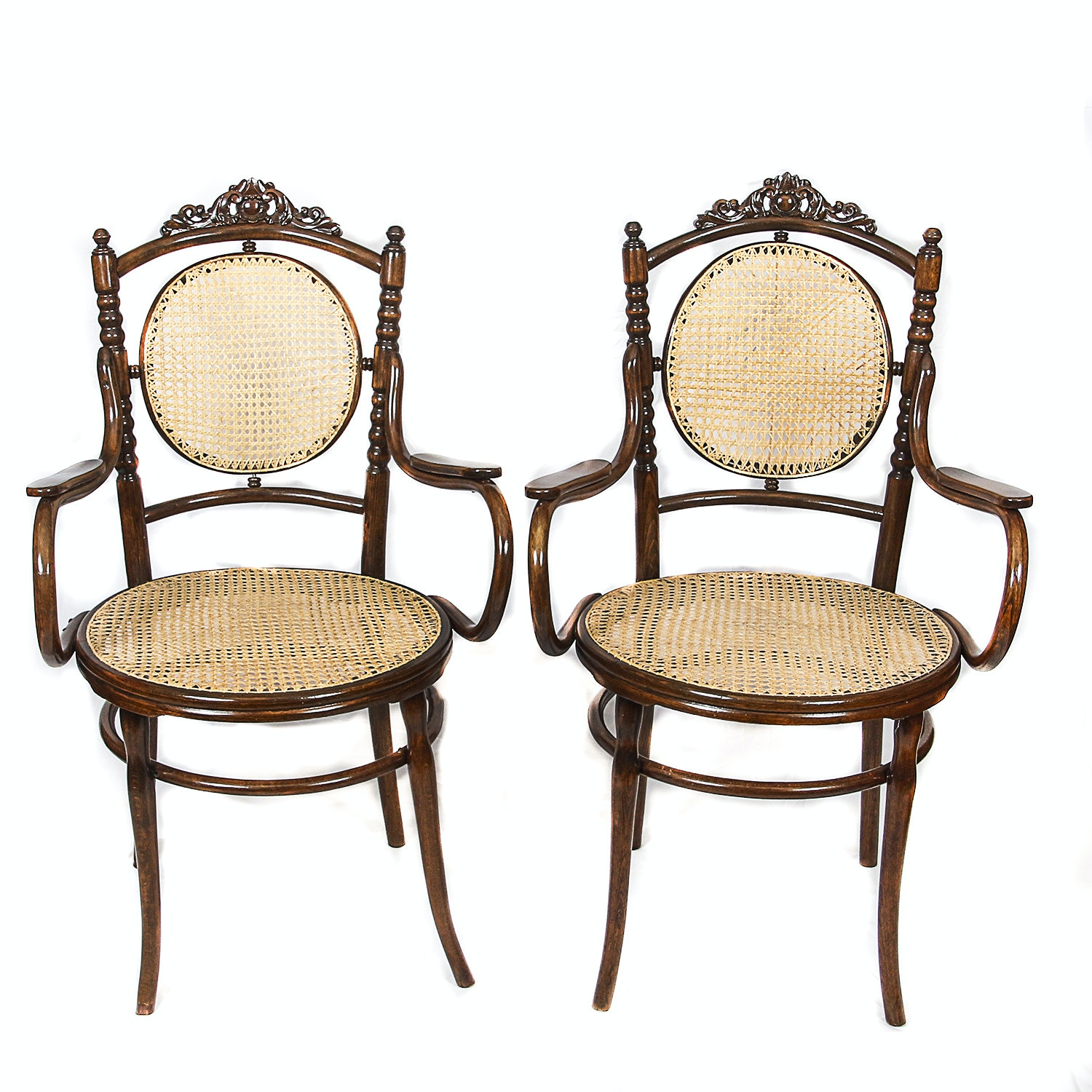 Victorian Style Caned Bentwood Armchairs