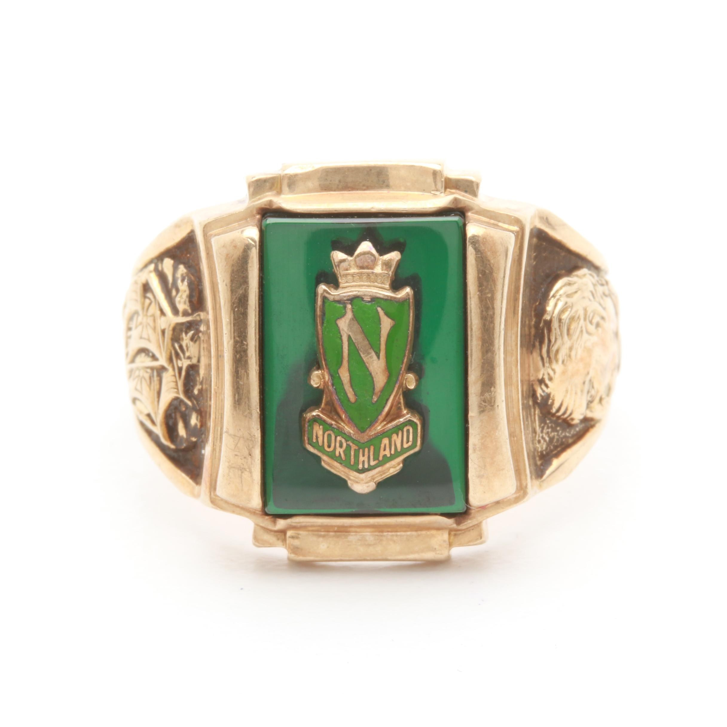 Circa 1971 10K Yellow Gold Synthetic Spinel and Enamel Class Ring