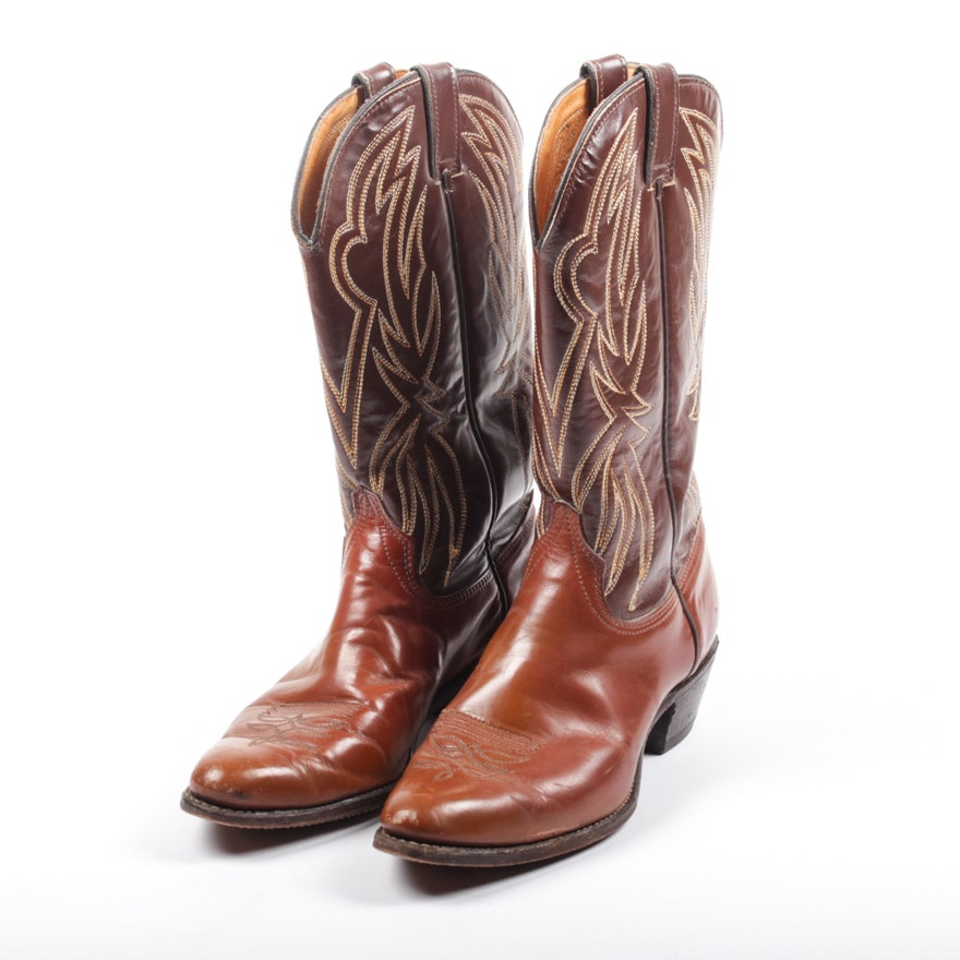 b67bac2f2f6c Vintage Two Tone Brown Leather Cowboy Boots   EBTH