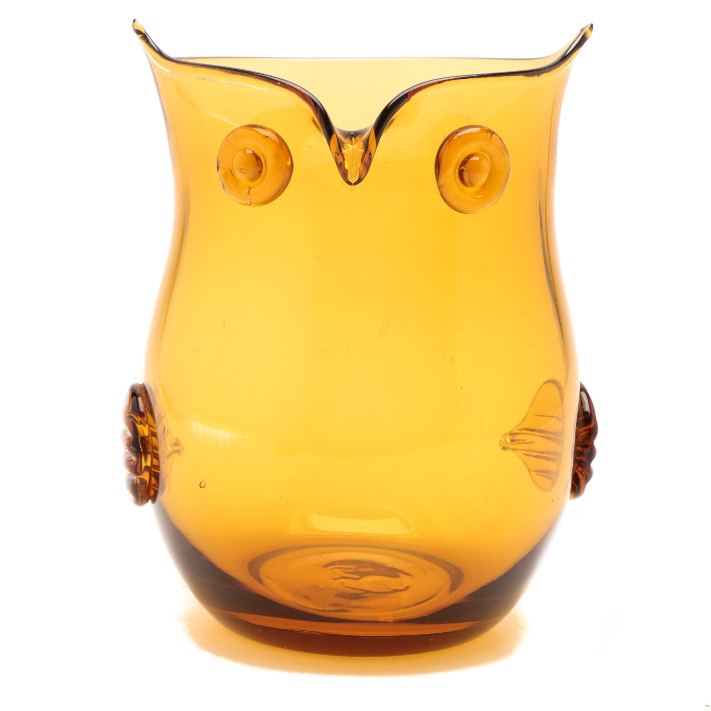 Mid-Century Modern Cristalleria Stile d' Arte Murano Amber Blown Glass Owl Vase