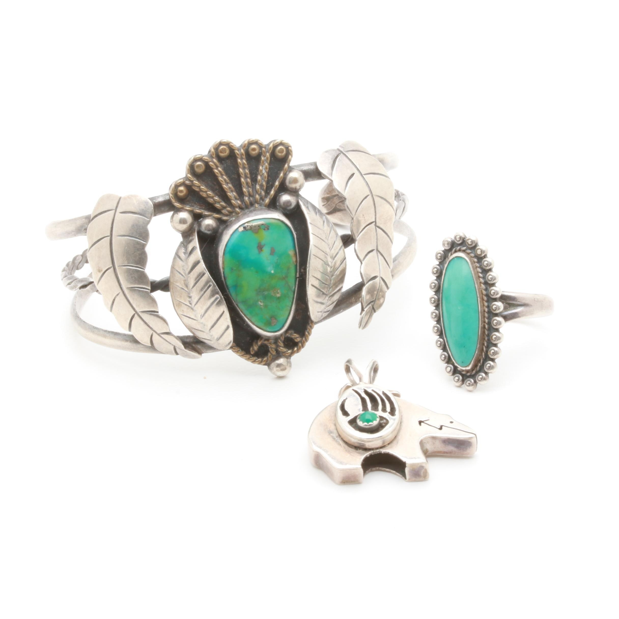 Southwestern Style Turquoise and Chalcedony Jewelry Selection