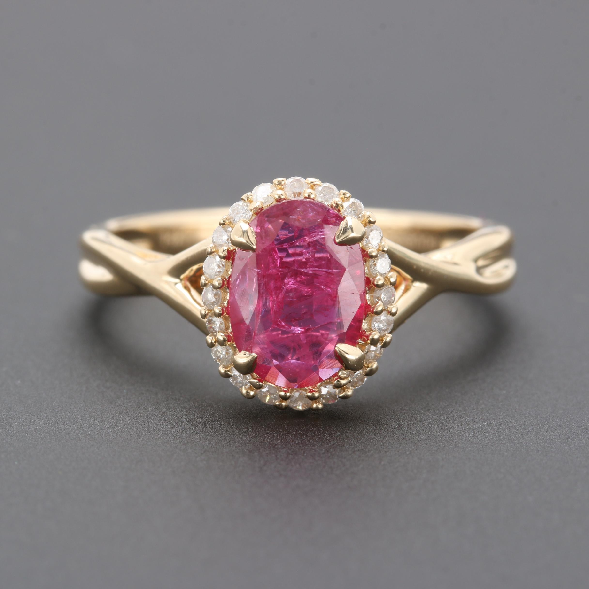 14K Yellow Gold Untreated 0.91 CT Ruby and Diamond Ring
