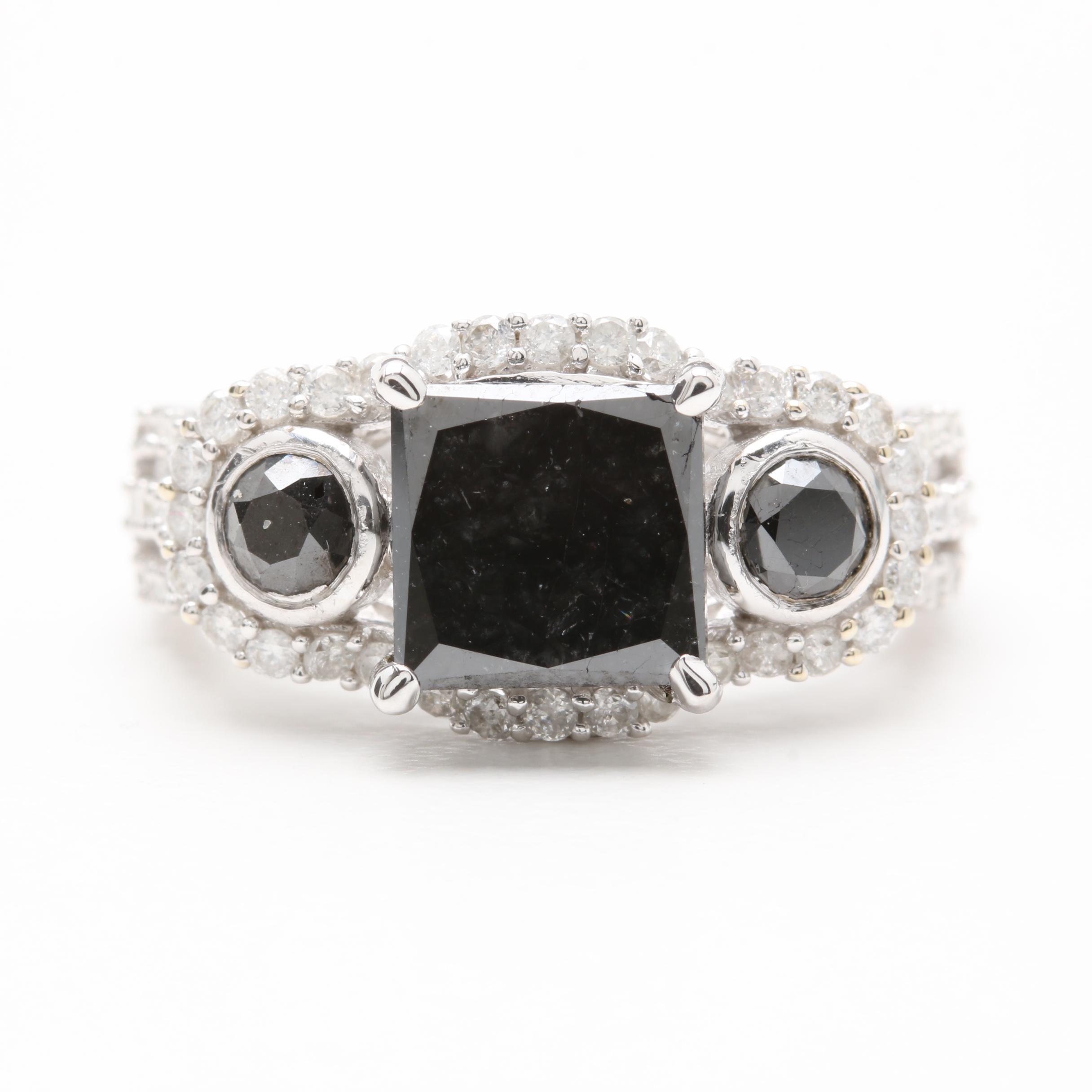 14K White Gold 3.09 CTW Diamond Ring Including Black Diamonds