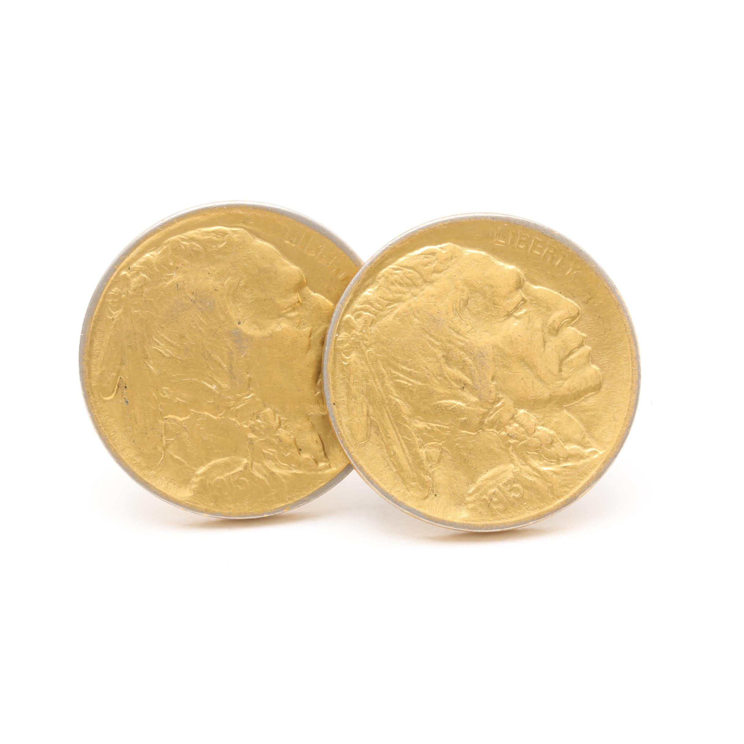 Gold Tone 1913 Buffalo Nickel Cufflinks