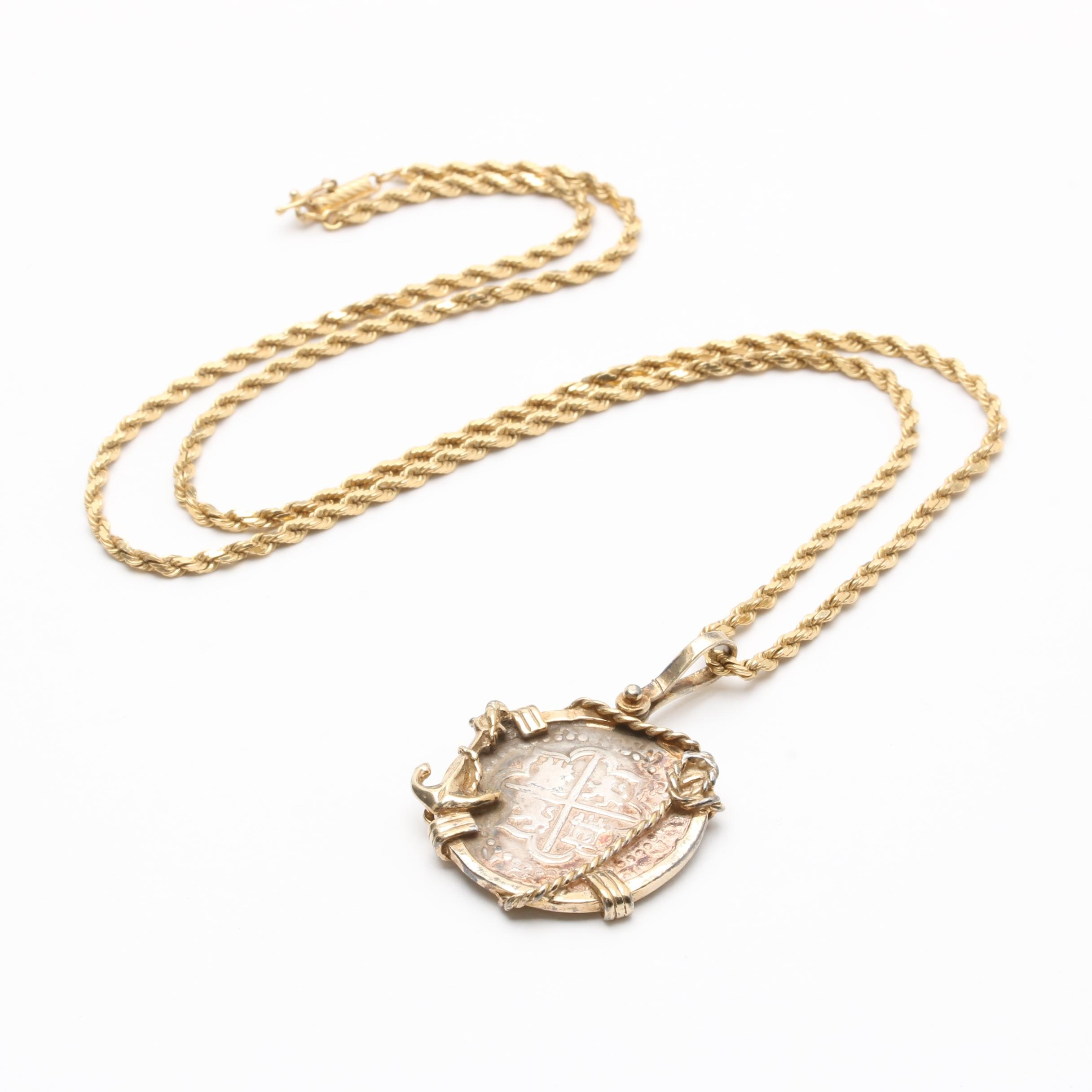 Sterling Silver Pendant with Spanish Colonial Cob on 14K Yellow Gold Necklace