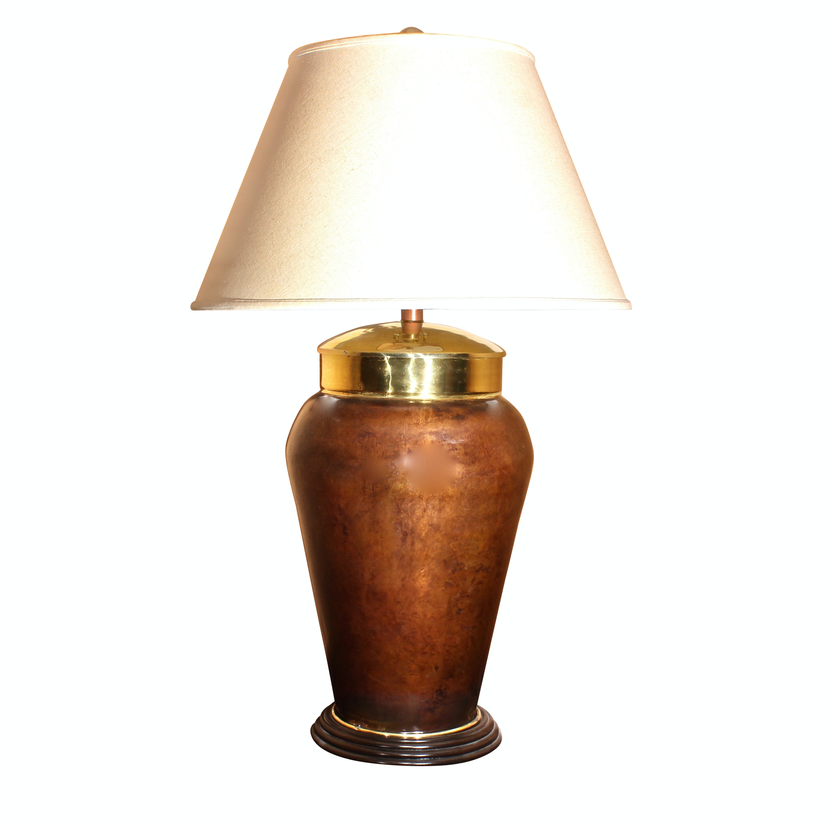 Large Brass And Copper Tone Table Lamp With Linen Bell Shade Ebth