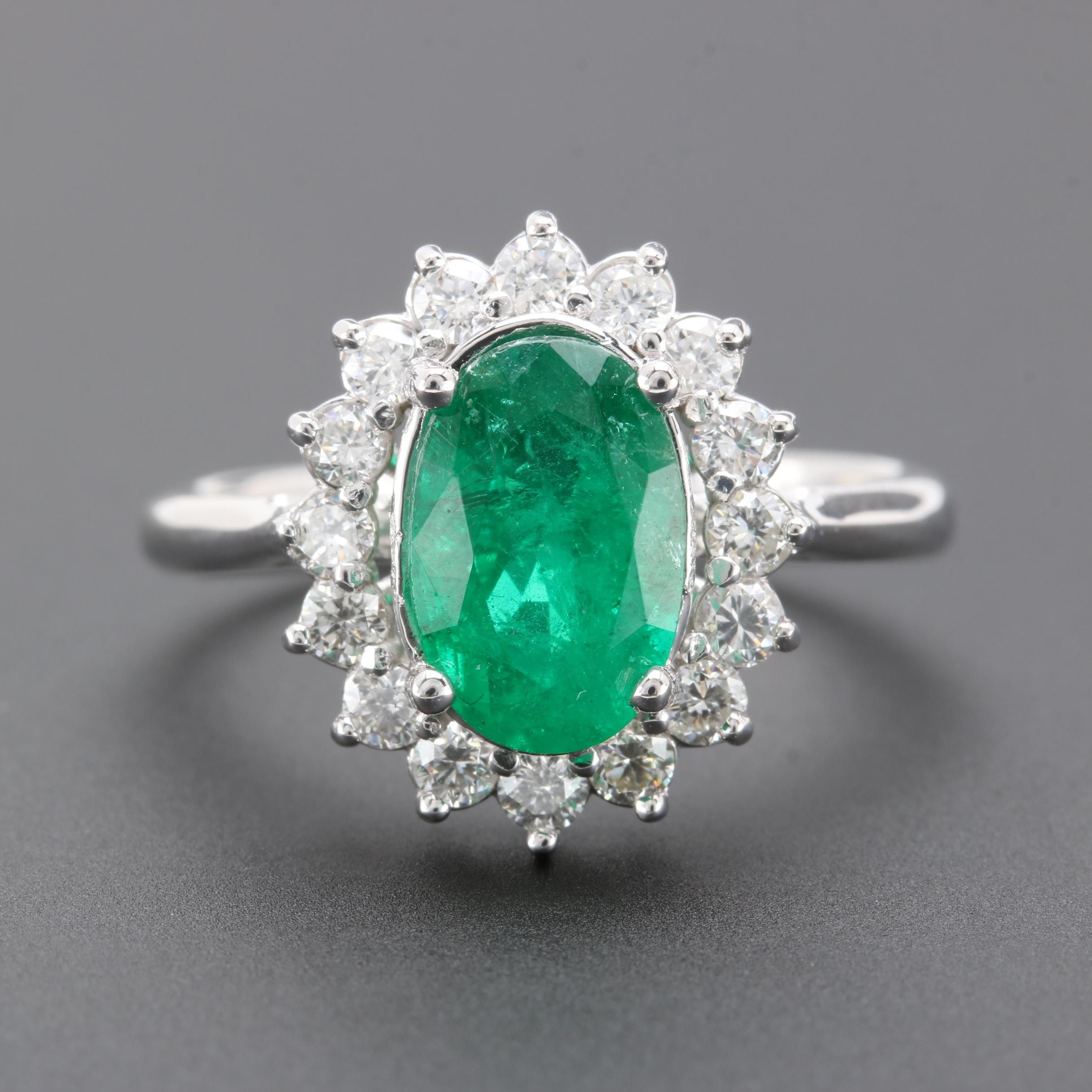 14K White Gold 1.74 CT Emerald and Diamond Ring