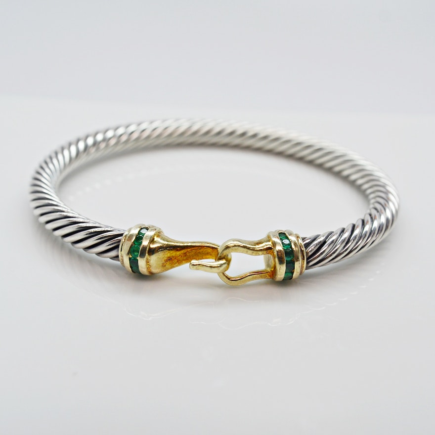 David Yurman Sterling Silver And Emerald Bracelet With 14k Yellow Gold Accents
