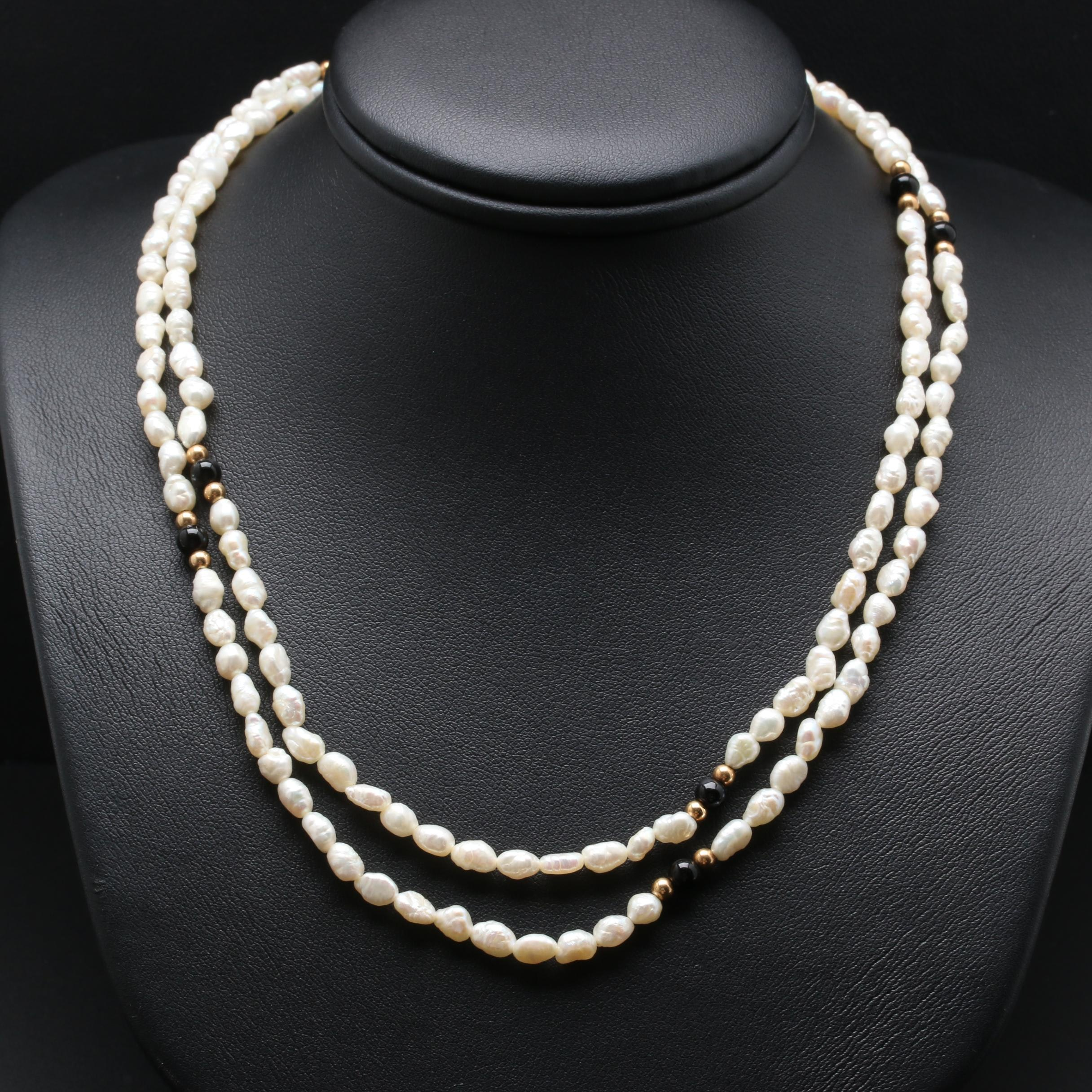 14K Yellow Gold Cultured Pearl and Black Onyx Necklace