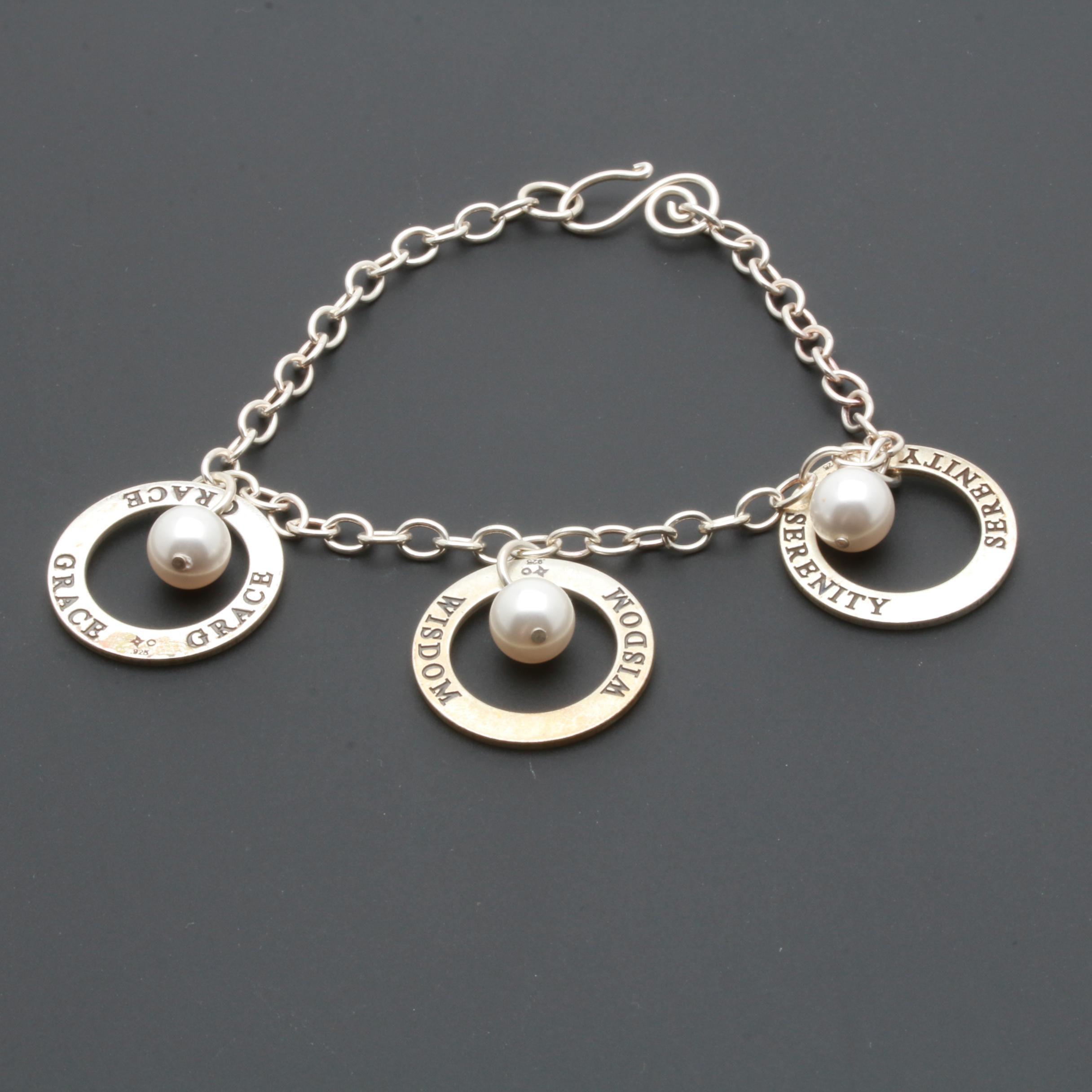 Sterling Silver Imitation Pearl Inspirational Bracelet