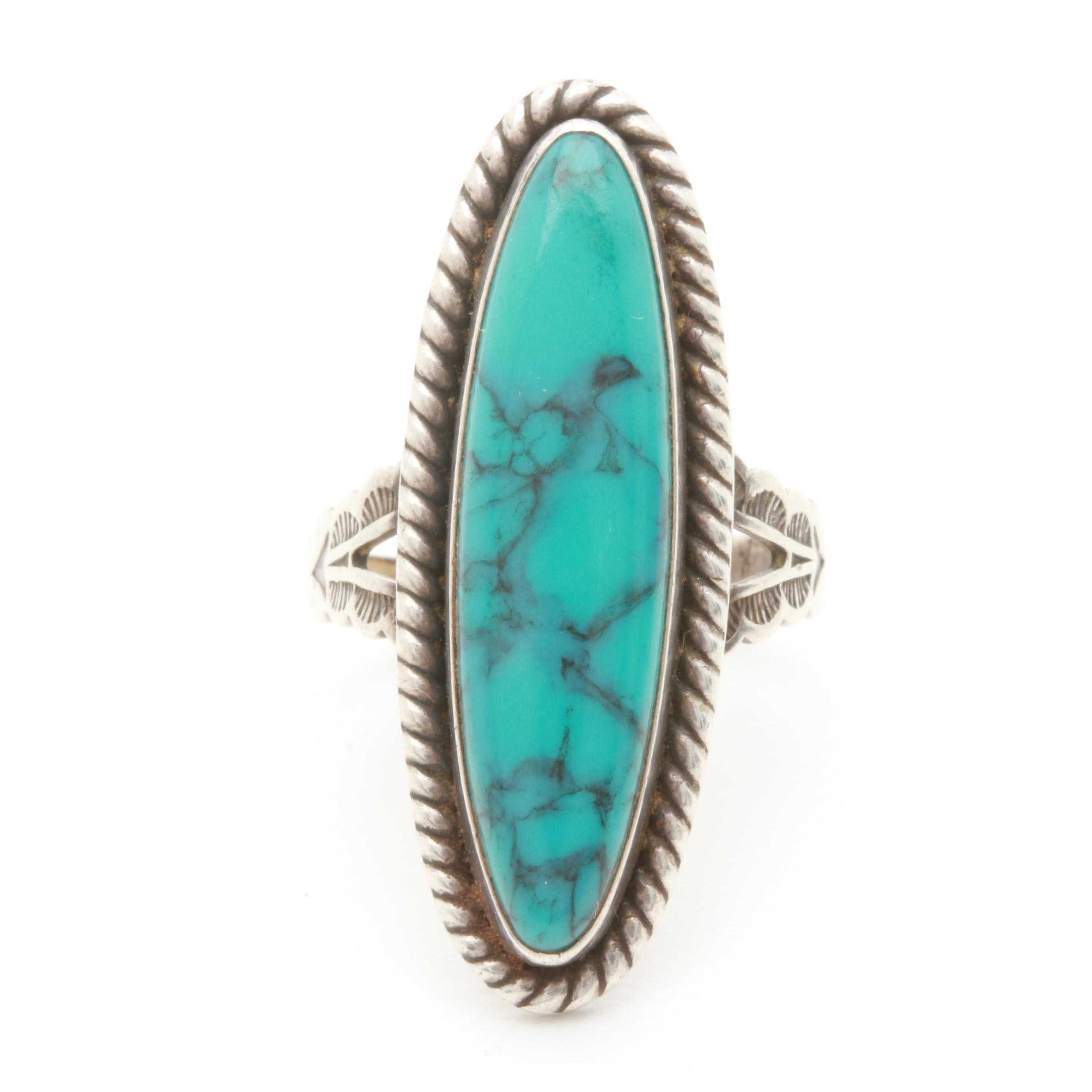 Vintage Southwestern Style Sterling Silver Imitation Turquoise Ring