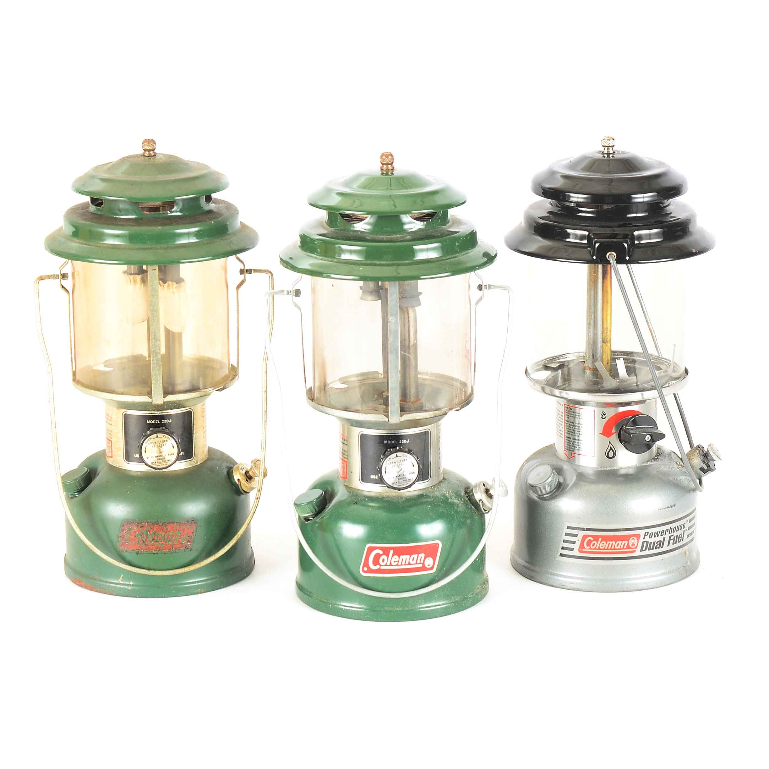 Coleman Oil Camp Lanterns With Plastic Cases