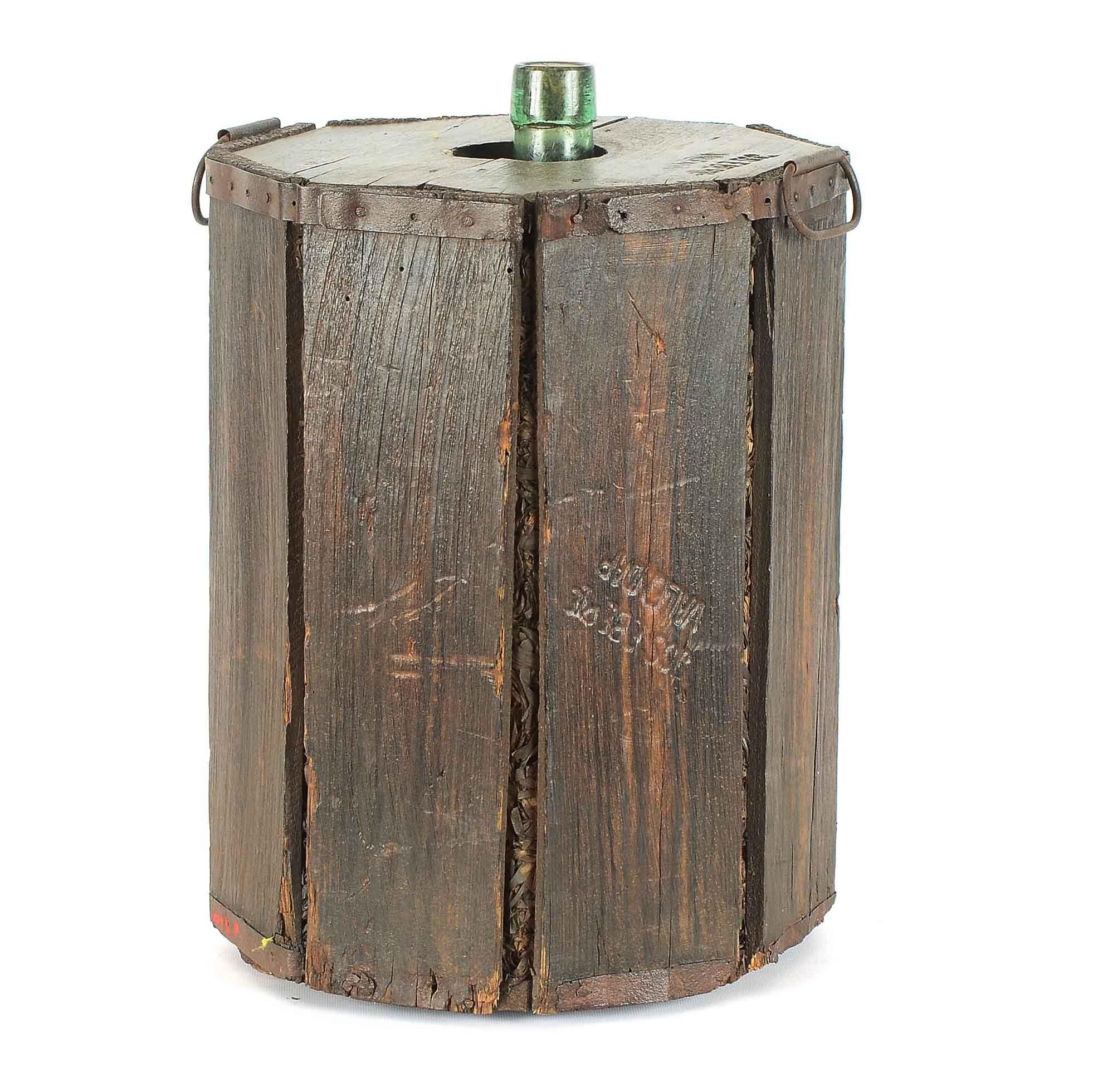 Large Vintage Bottle in Stamped Wooden Shipping Cask