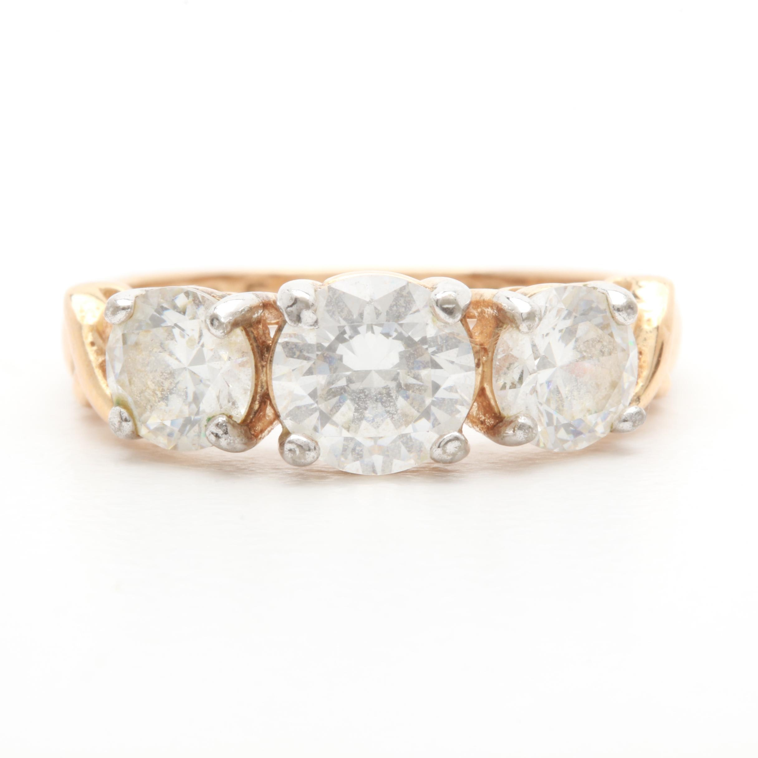 Gold Wash on Sterling Silver Cubic Zirconia Ring