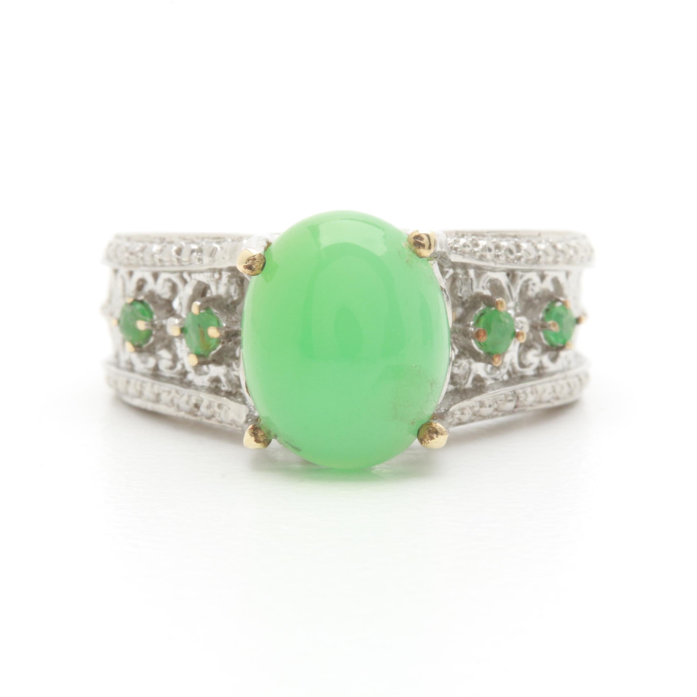 Sterling Silver Green Chalcedony and Emerald Ring