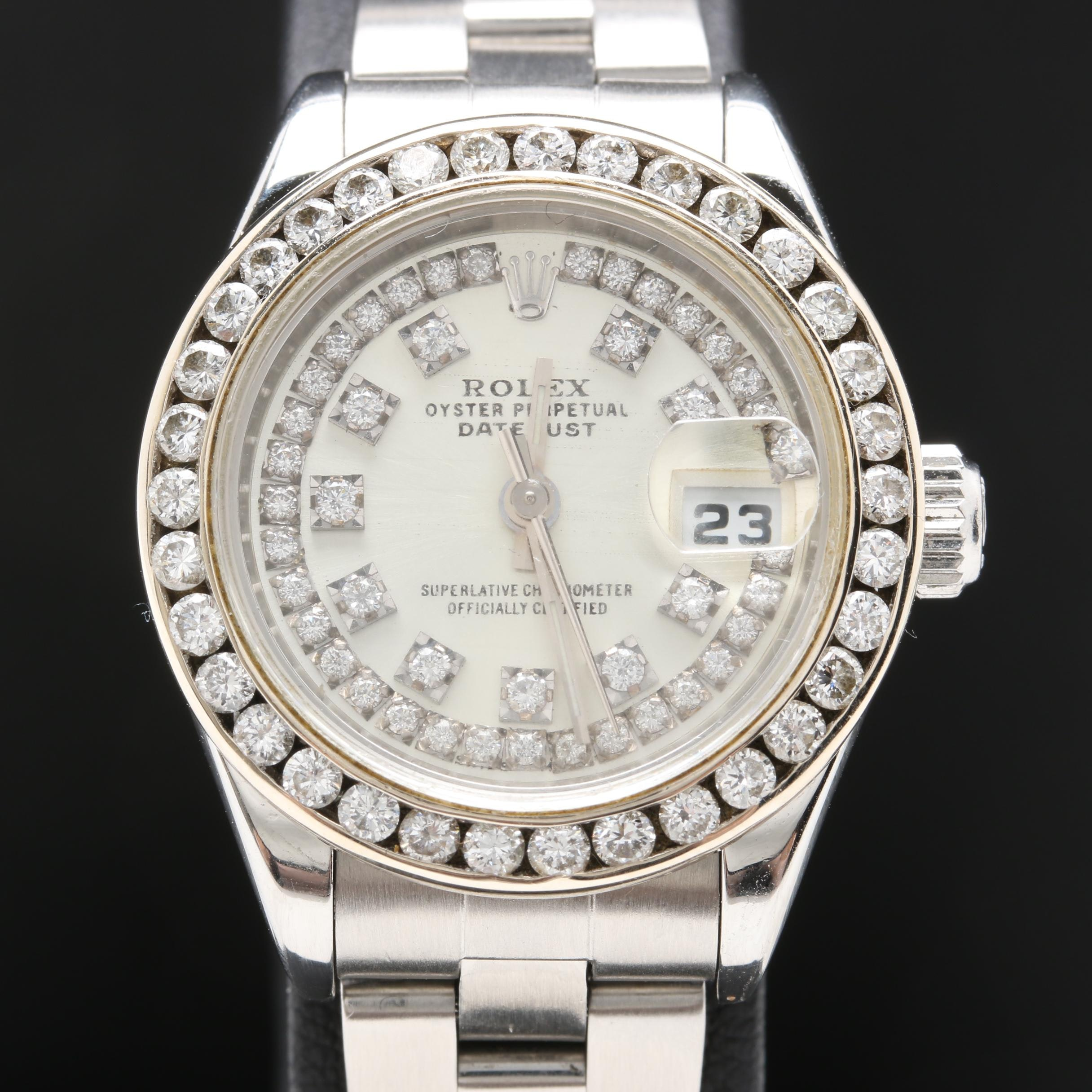 Rolex Stainless Steel 1.63 CTW Diamond Wristwatch With Date Window