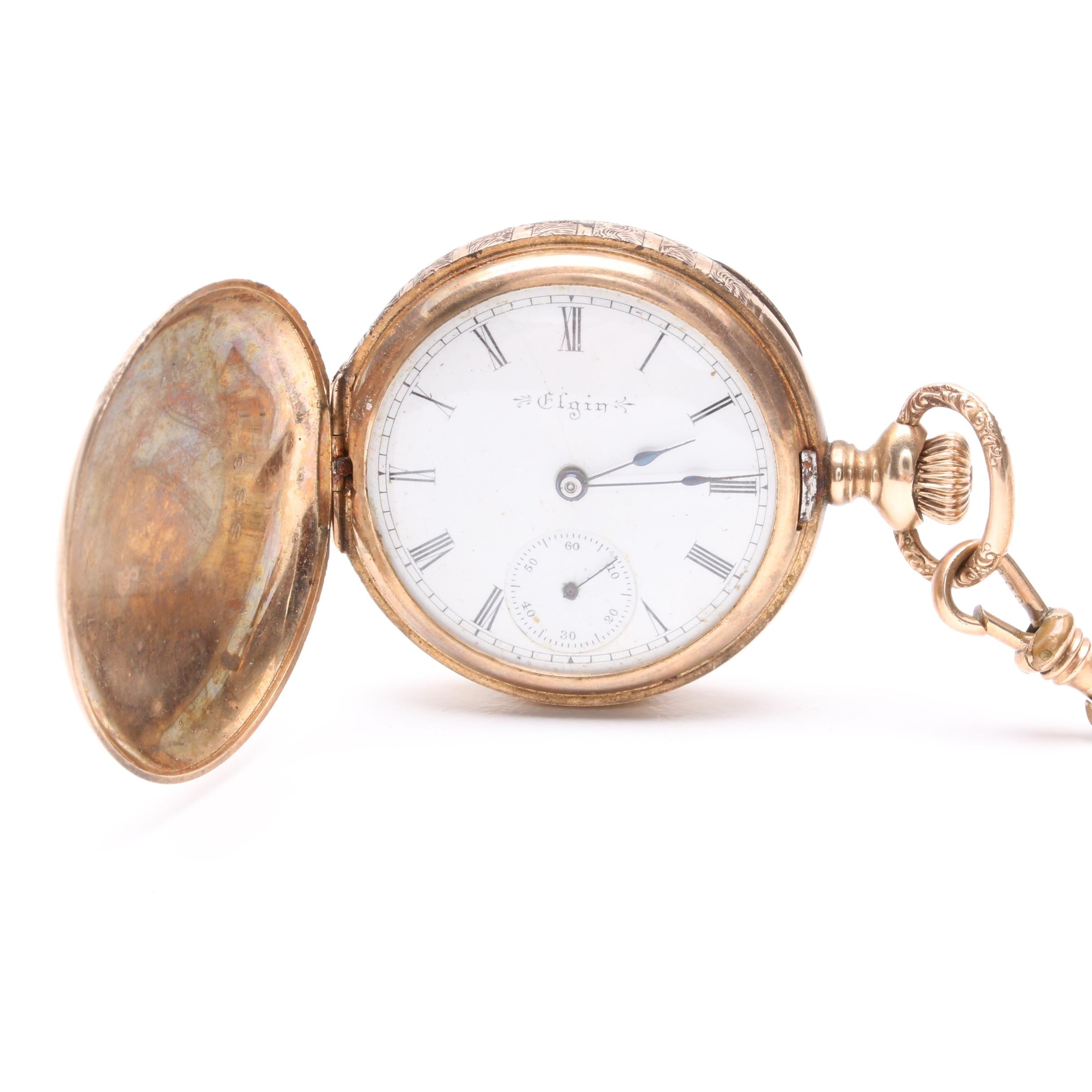 1898 Elgin 14K Yellow Gold Pocket Watch With Gold Filled and Seed Pearl Chain