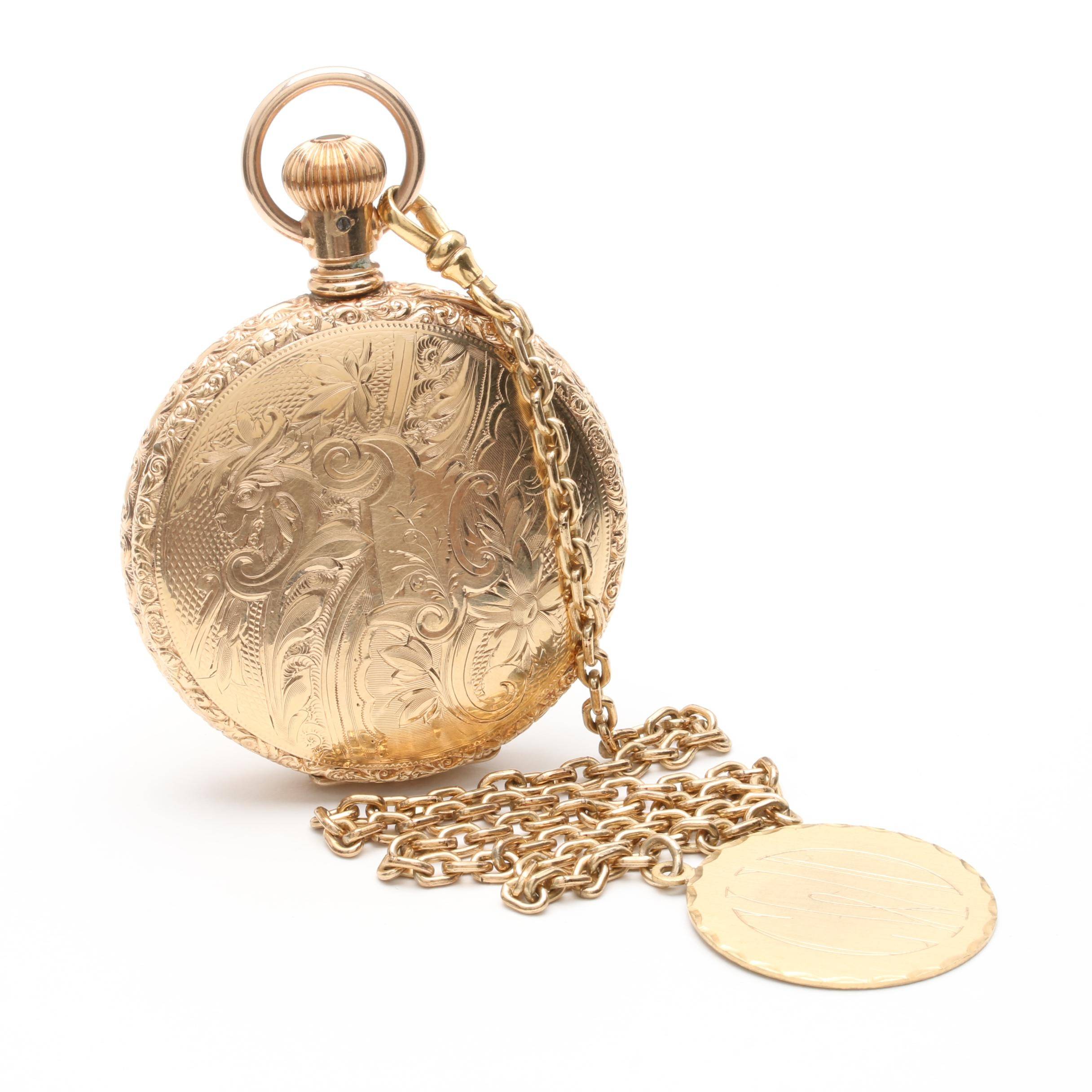 Gold Filled Diamond Pocket Watch With Fob Chain and Disc Charm