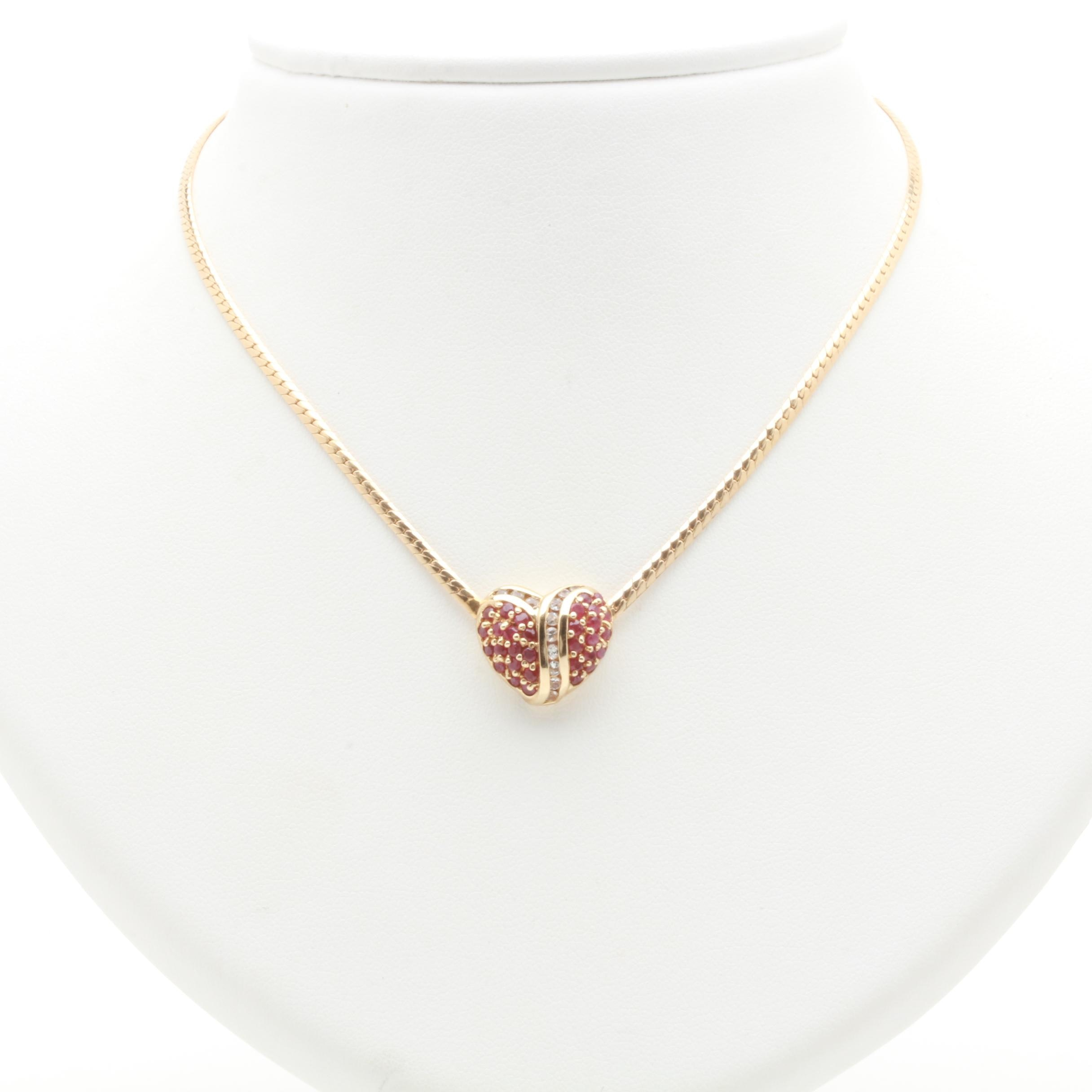 10K Yellow Gold Ruby and White Sapphire Pendant Necklace