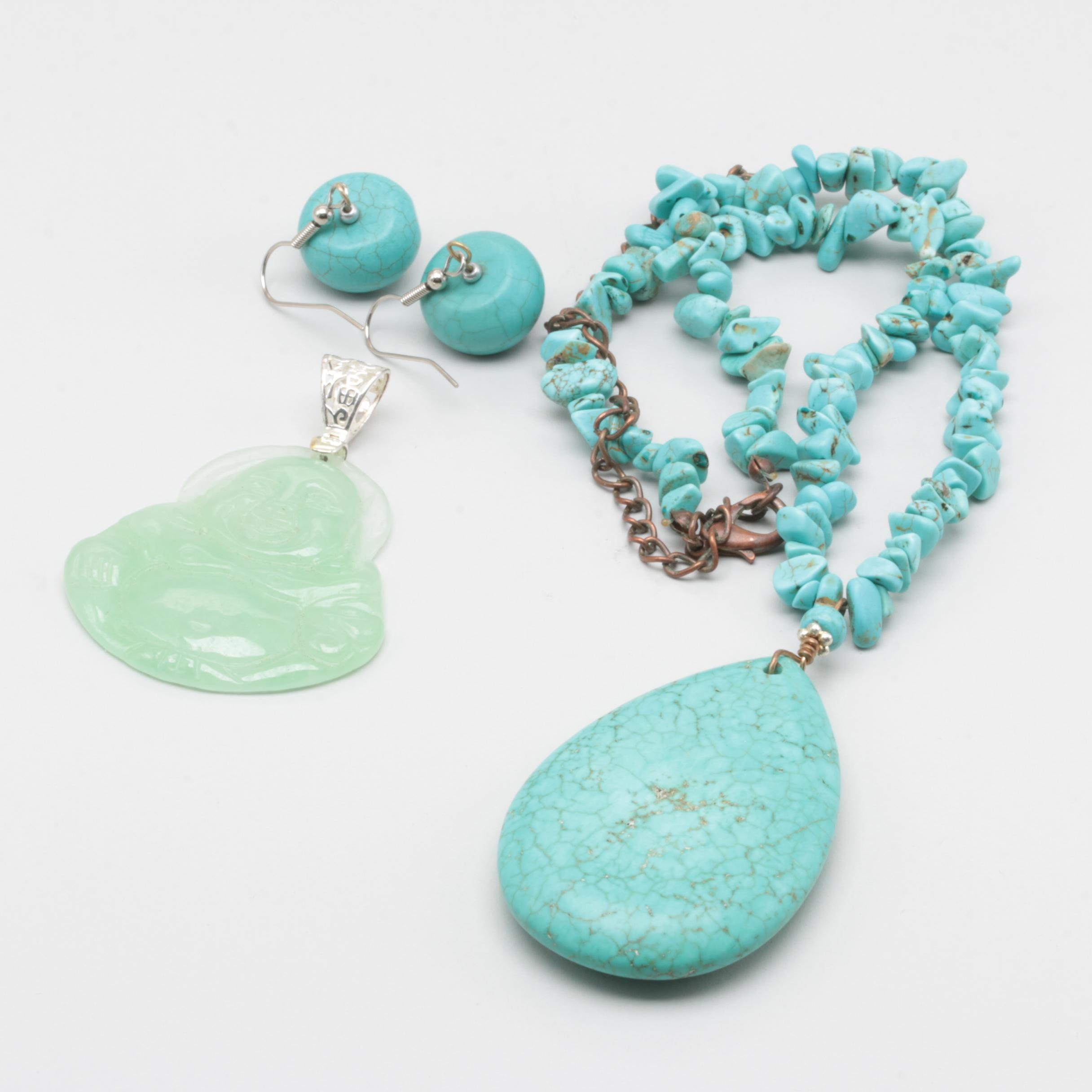 Sterling Silver Howlite Demi Parure and Carved Jadeite Buddha Pendant