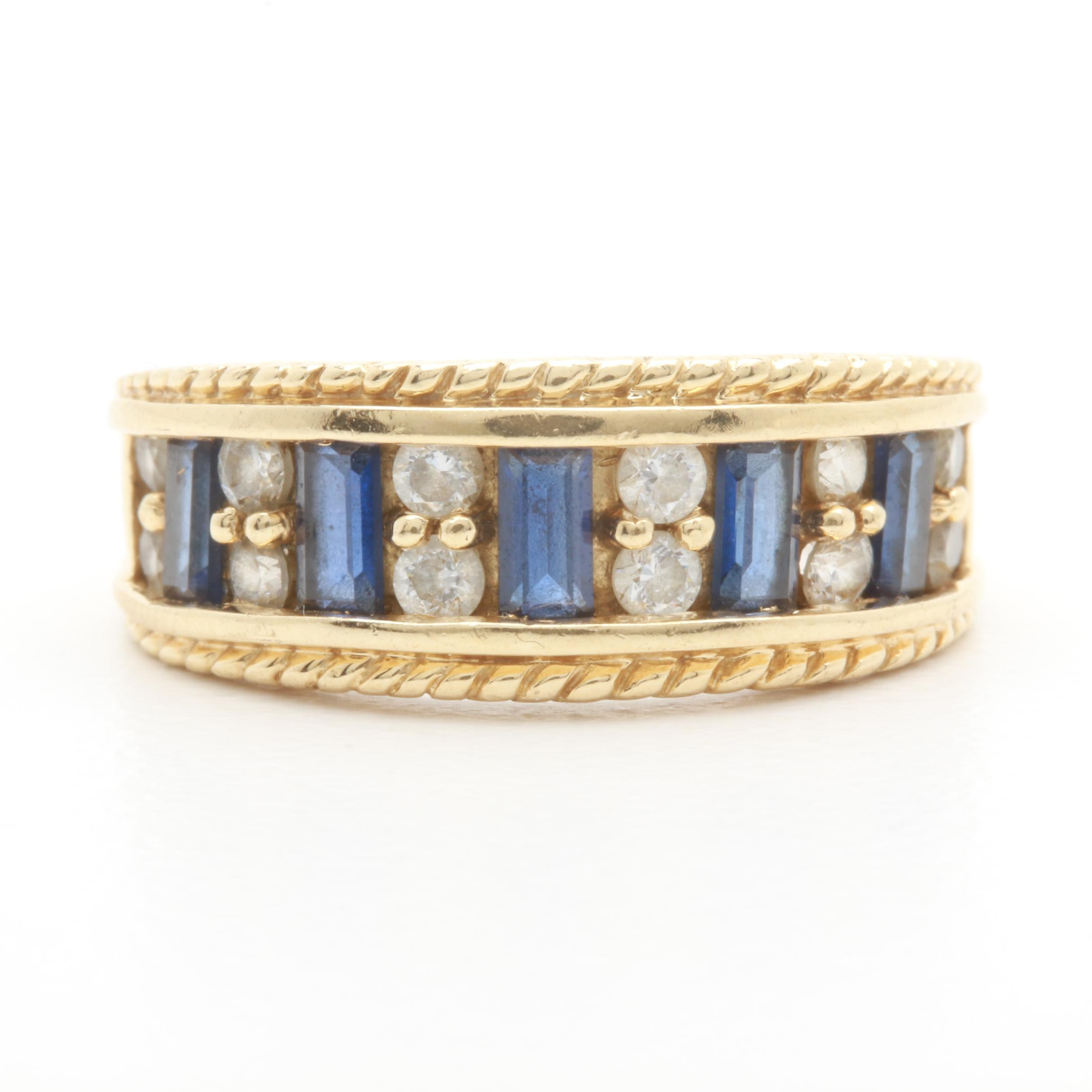 14K Yellow Gold Synthetic Blue Sapphire and Cubic Zirconia Ring