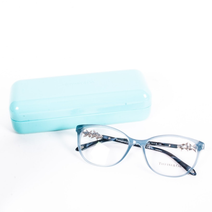Tiffany & Co. Embellished Cat Eye Style Blue Eyeglass Frames, Made ...
