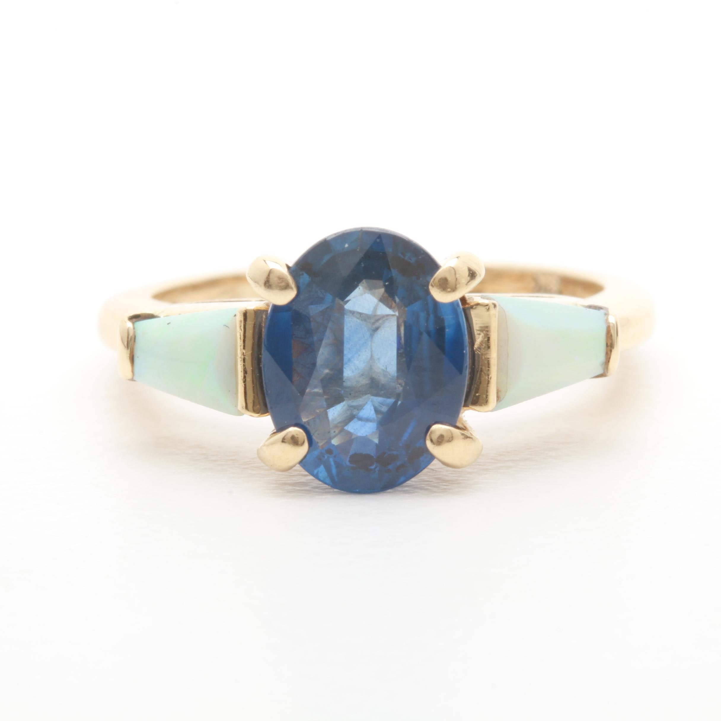 14K Yellow Gold 1.61 CT Blue Sapphire and Opal Ring