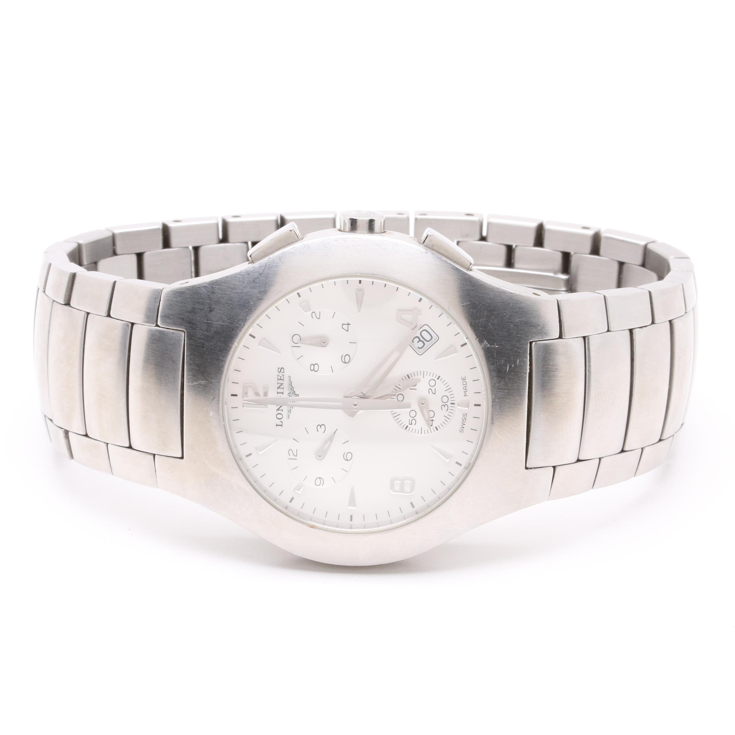 Longines Opposition Chronograph Stainless Steel Quartz Wristwatch