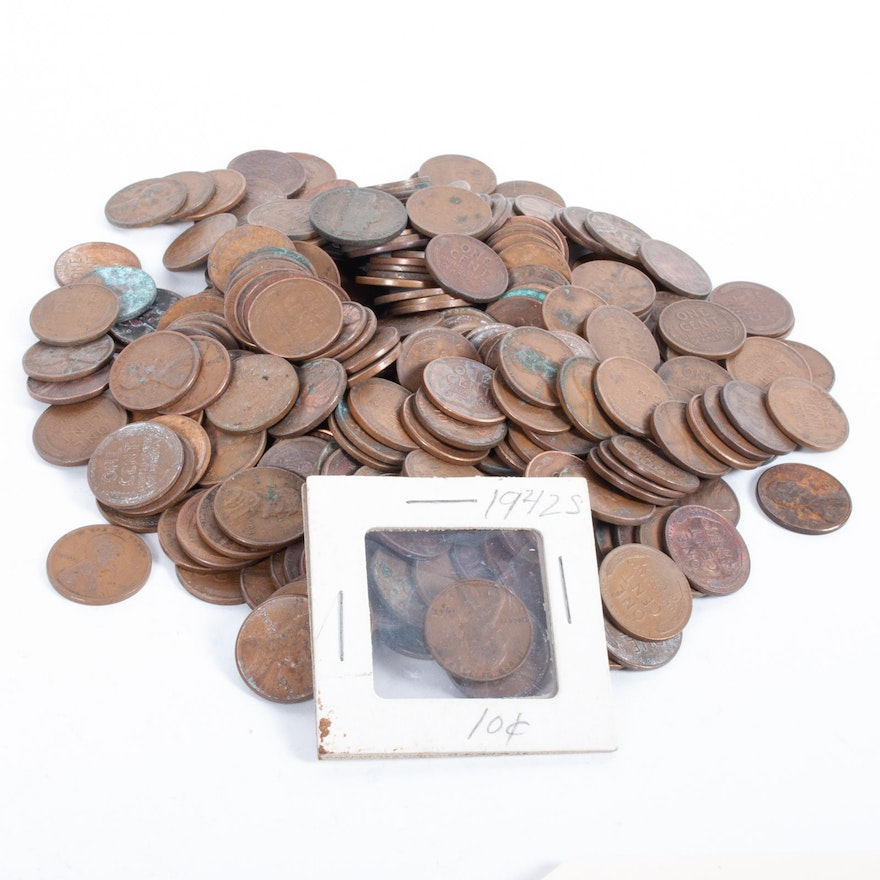 258 Lincoln Wheat Cents and 1943 Steel Penny