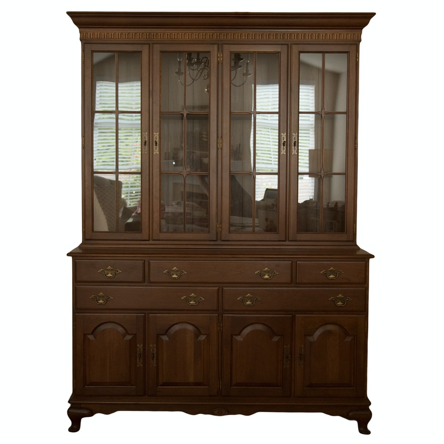 Ethan Allen Colonial Revival Cherry China Cabinet