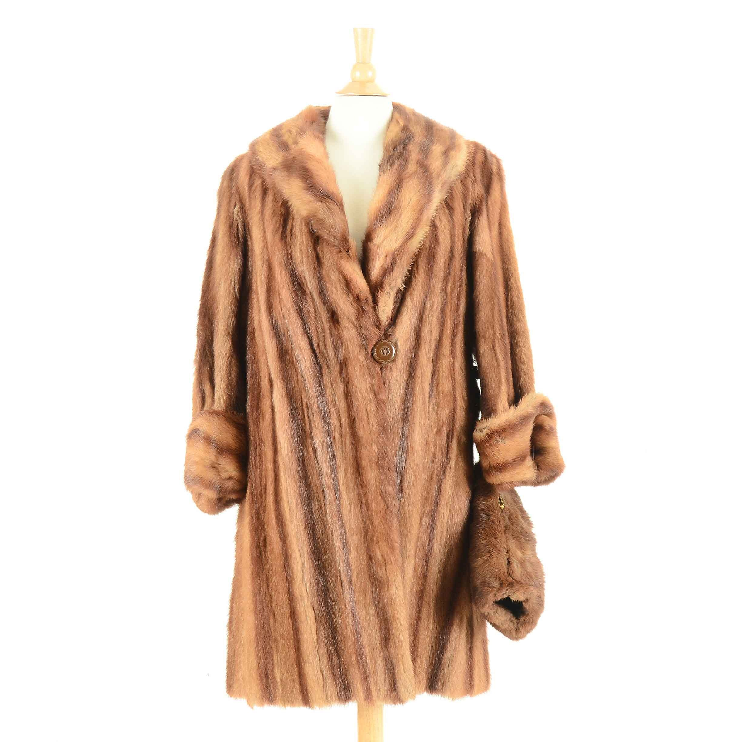 Vintage Marmot Fur Coat and Dyed Fur Muff
