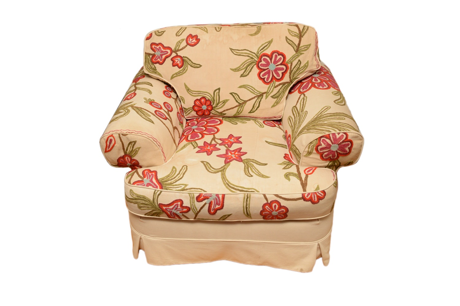 Floral Crewel Style Upholstered Armchair
