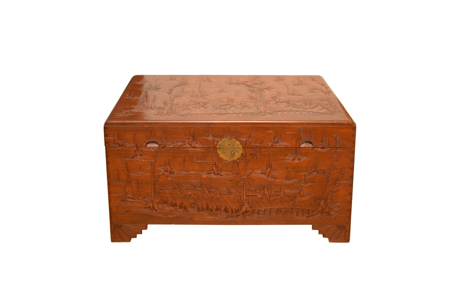 Vintage Chinese Carved Wooden Chest