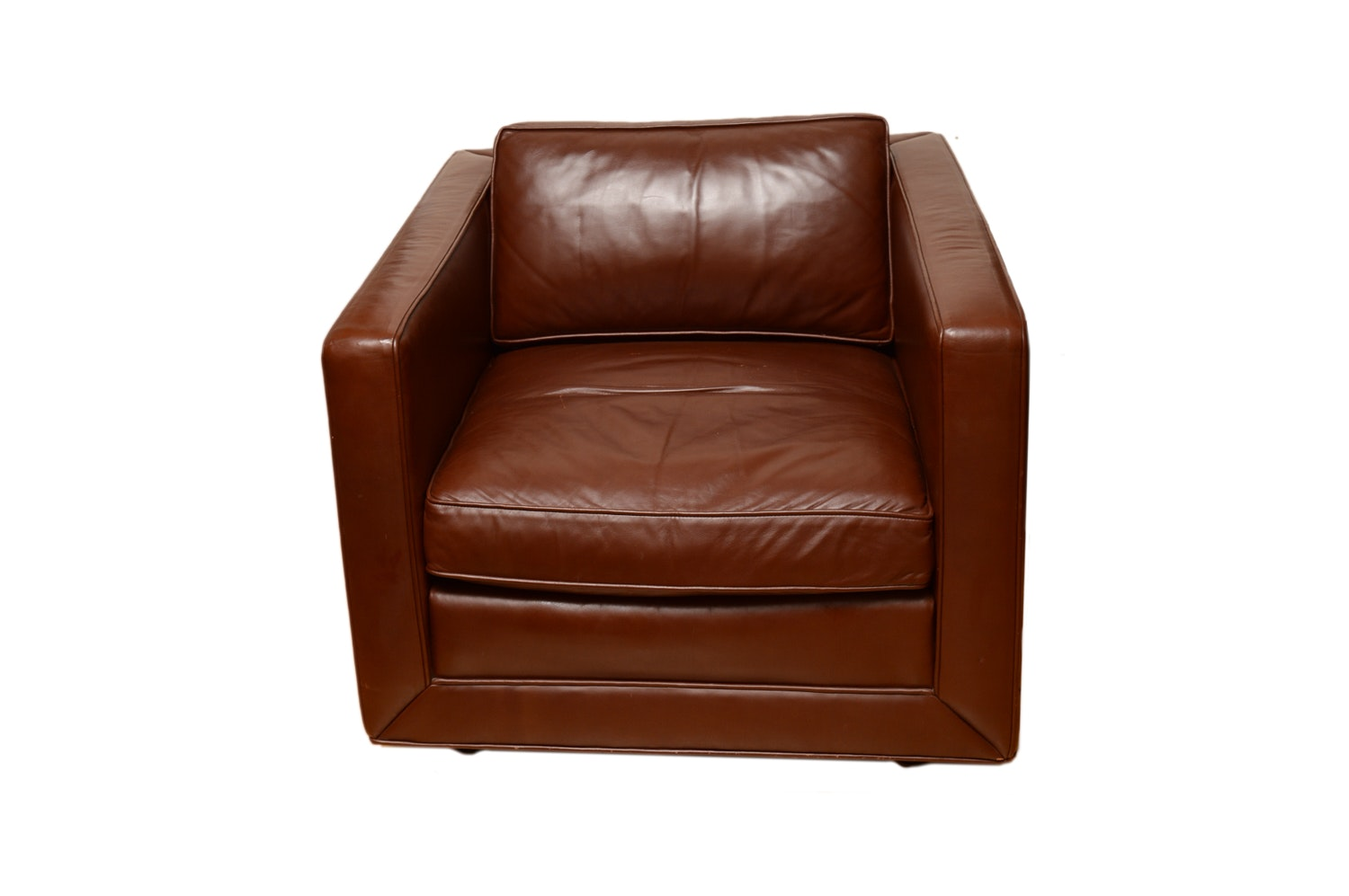 Charmant Brown Faux Leather Club Chair ...