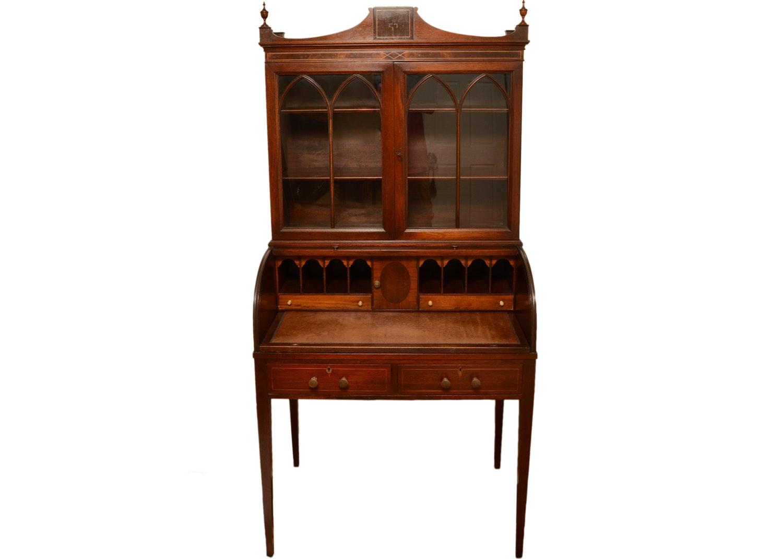 Vintage Federal Style Inlaid Mahogany Secretary Bookcase