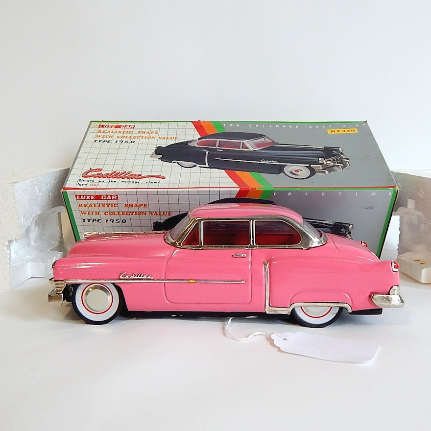 Vintage Luxe Car 1950 Pink Cadillac Die Cast Toy Friction