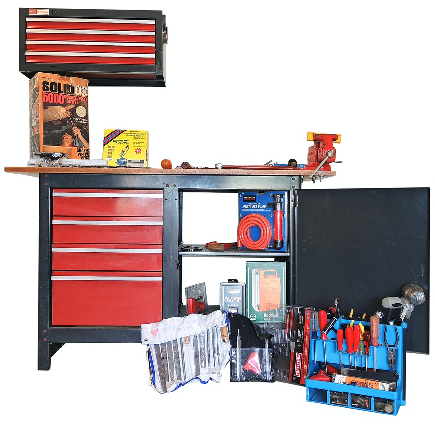 Admirable Bench And Craftsman Tool Box With Tools Alphanode Cool Chair Designs And Ideas Alphanodeonline