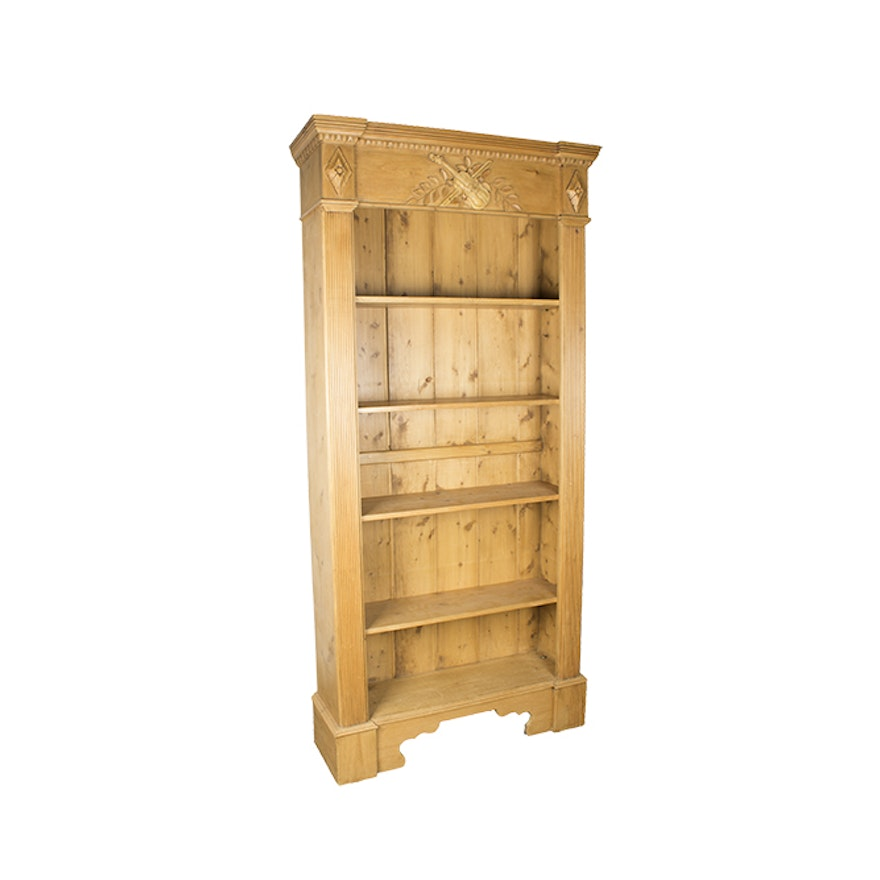 Vintage French Country Style Pine Bookcase