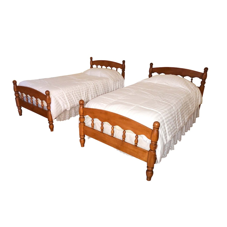 Pair Of Vintage Wooden Twin Bed Frames