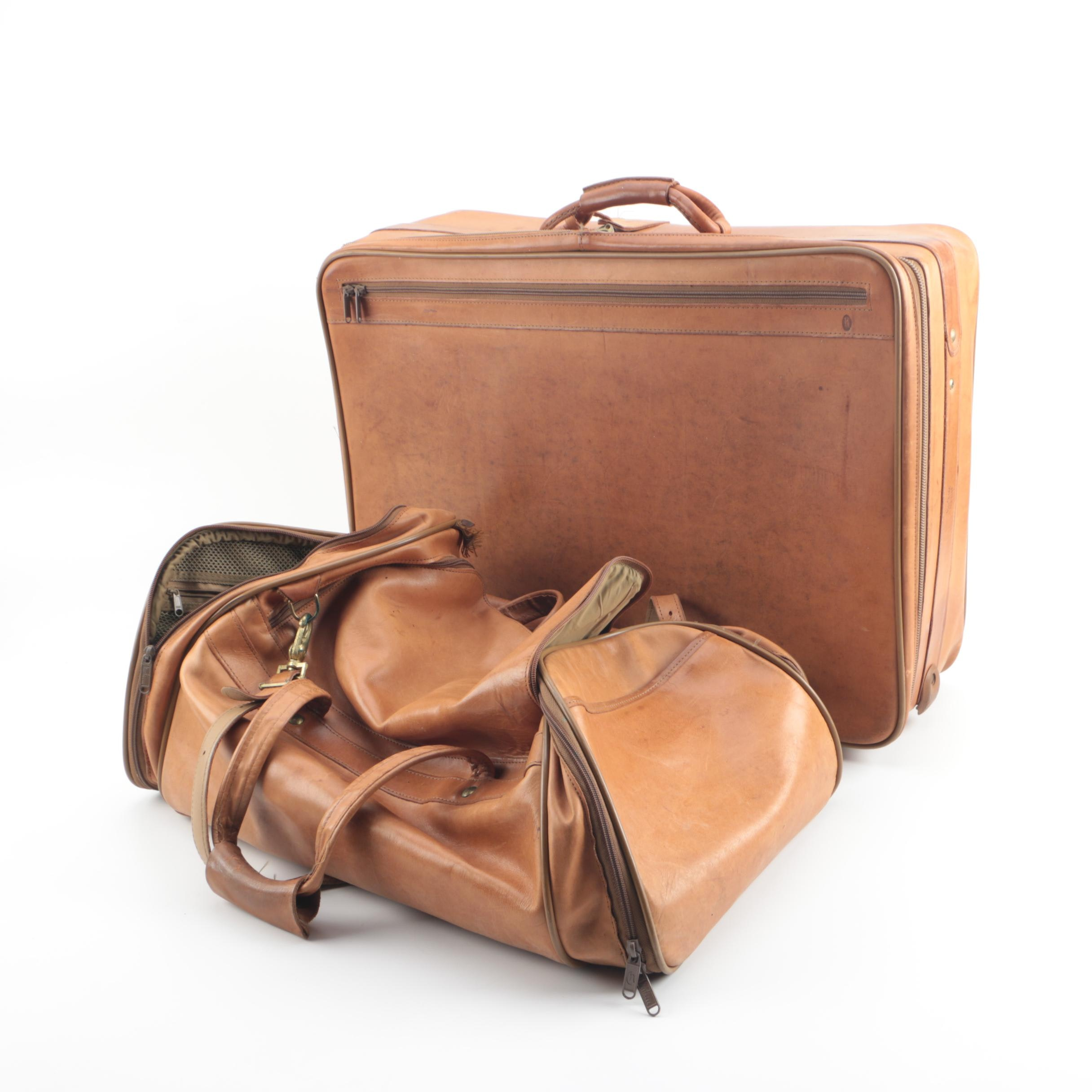 Vintage Hartmann Tan Leather Suitcase and Duffel Bag