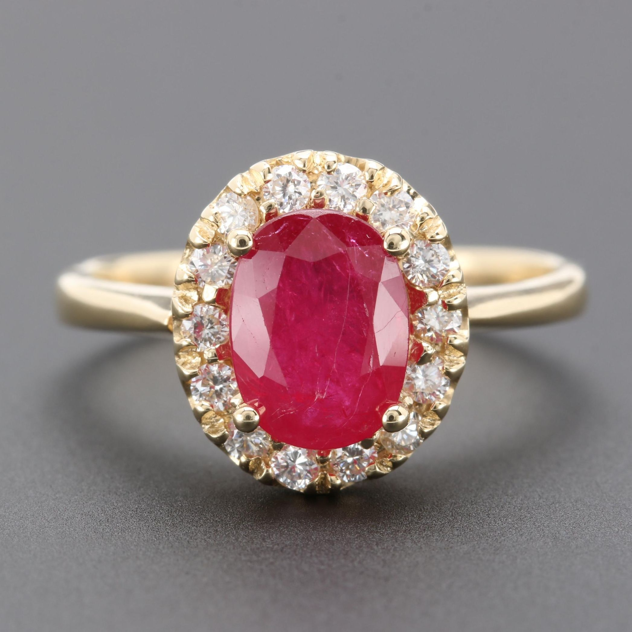 14K Yellow Gold 1.27 CT Ruby and Diamond Ring