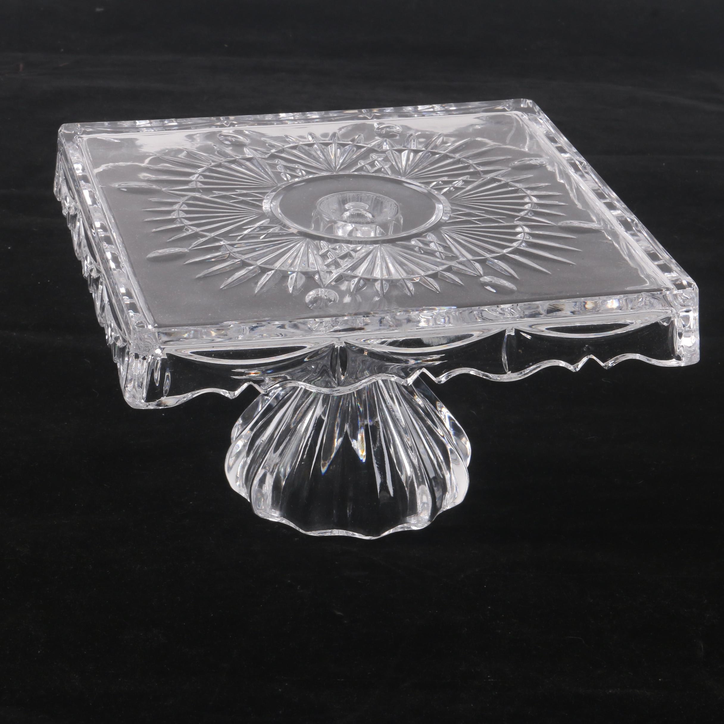 """Shannon 24% Lead Crystal """"Freedom""""  Square Pedestal Cake Plate"""