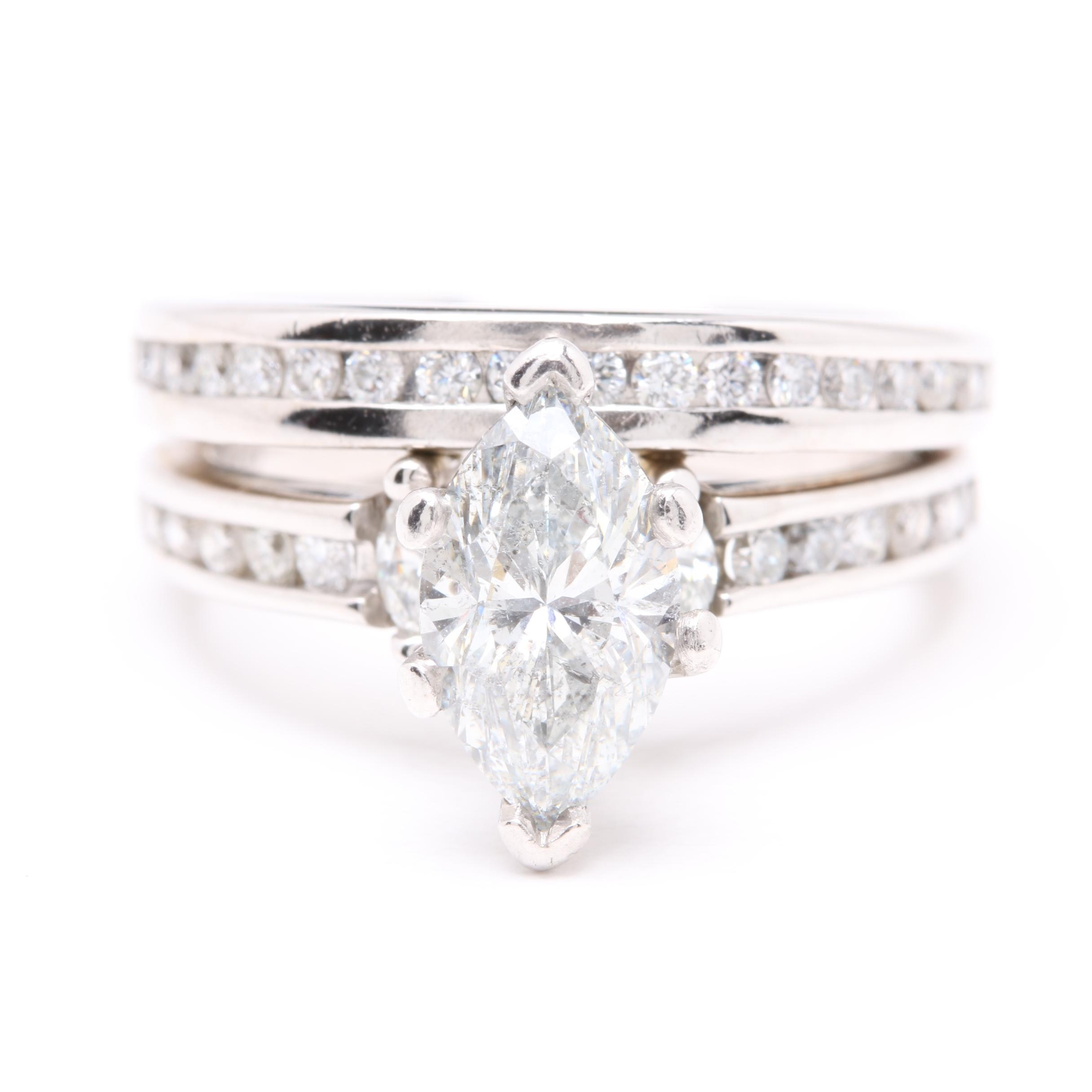 14K White Gold 2.00 CTW Diamond Bridal Ring Set
